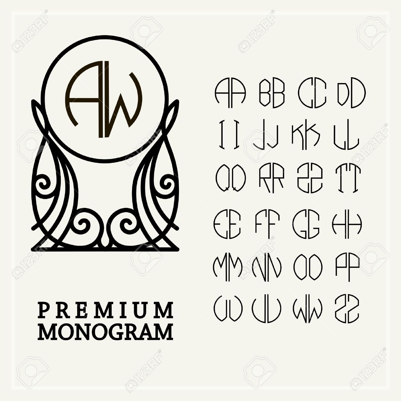 art deco alphabet set template letters to create monograms of two letters in scribed in