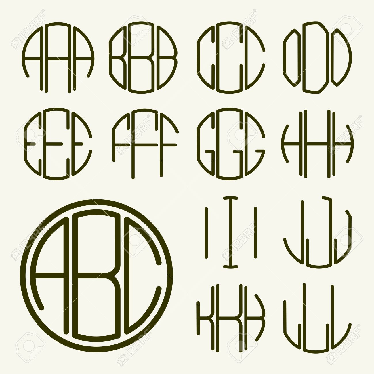 set 1 template letters to create a monogram of three letters inscribed in a circle in