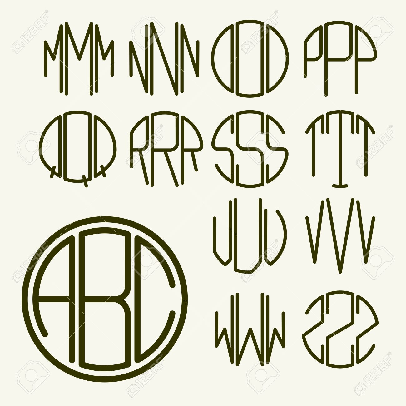 Set 2 template letters to create a monogram of three letters inscribed in a circle in Art Nouveau style - 38198133