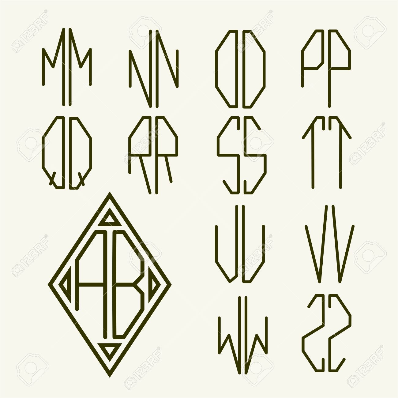set 2 of templates of letters to create a two letter monogram inscribed in rhombus