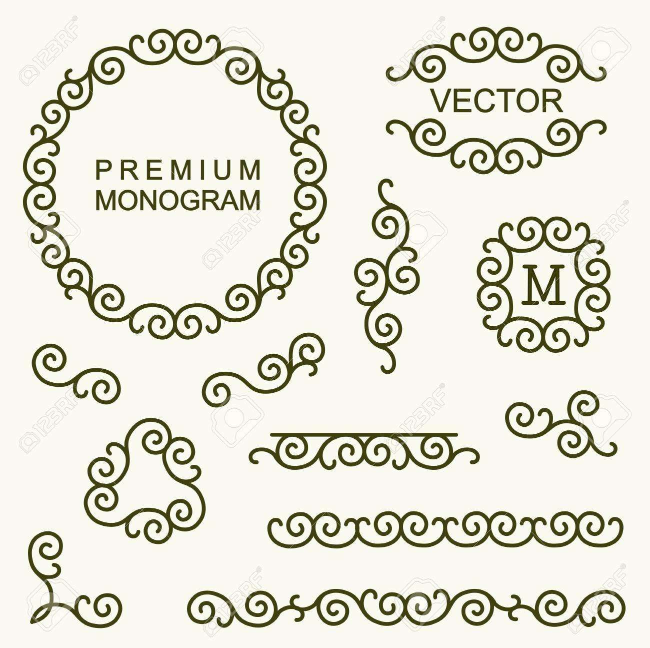 Schöne Satz Von Linien Design-Elemente Für Icons, Rahmen Und Grenzen ...