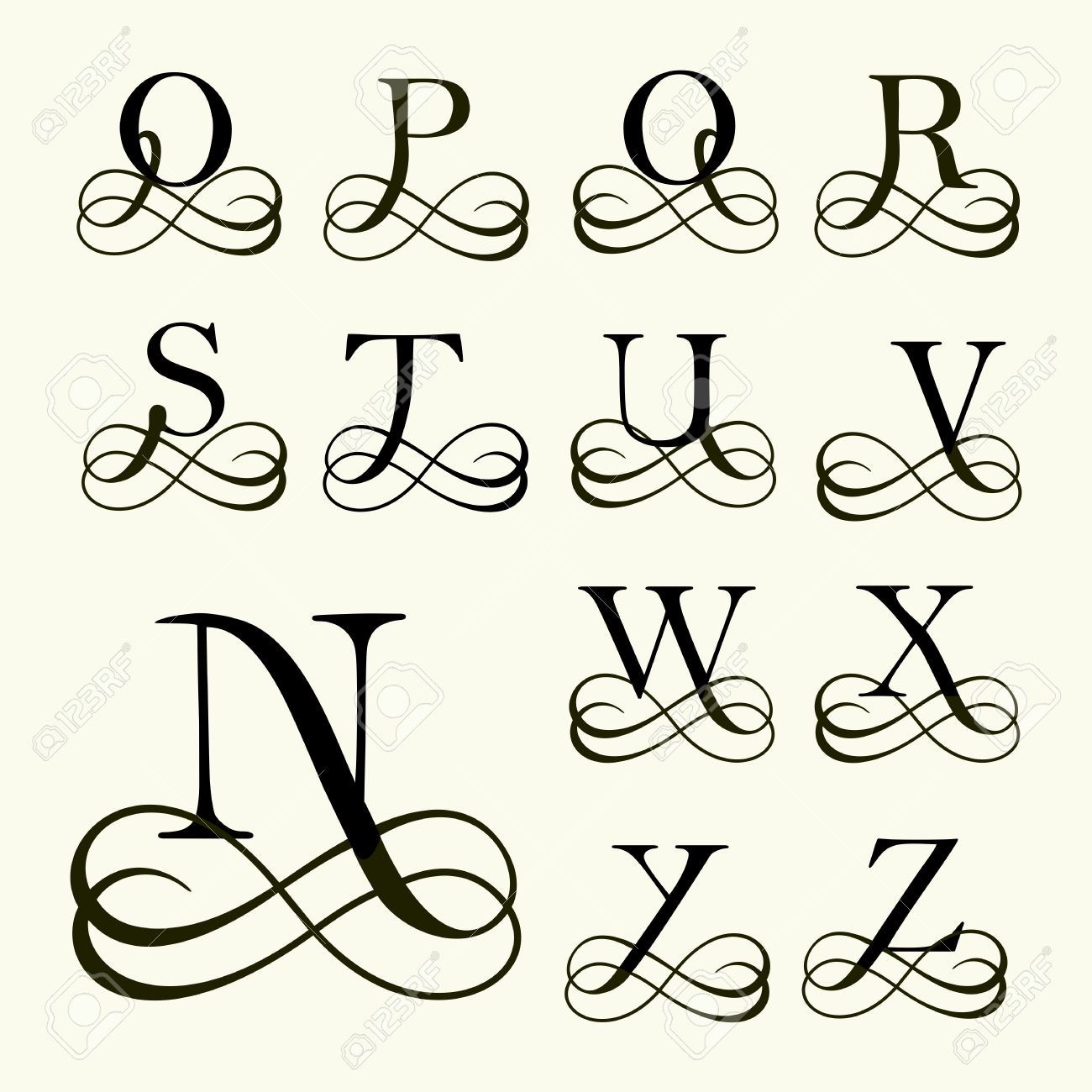 Vintage set capital letter for monograms and logos beautiful vector vintage set capital letter for monograms and logos beautiful filigree font victorian style altavistaventures Images