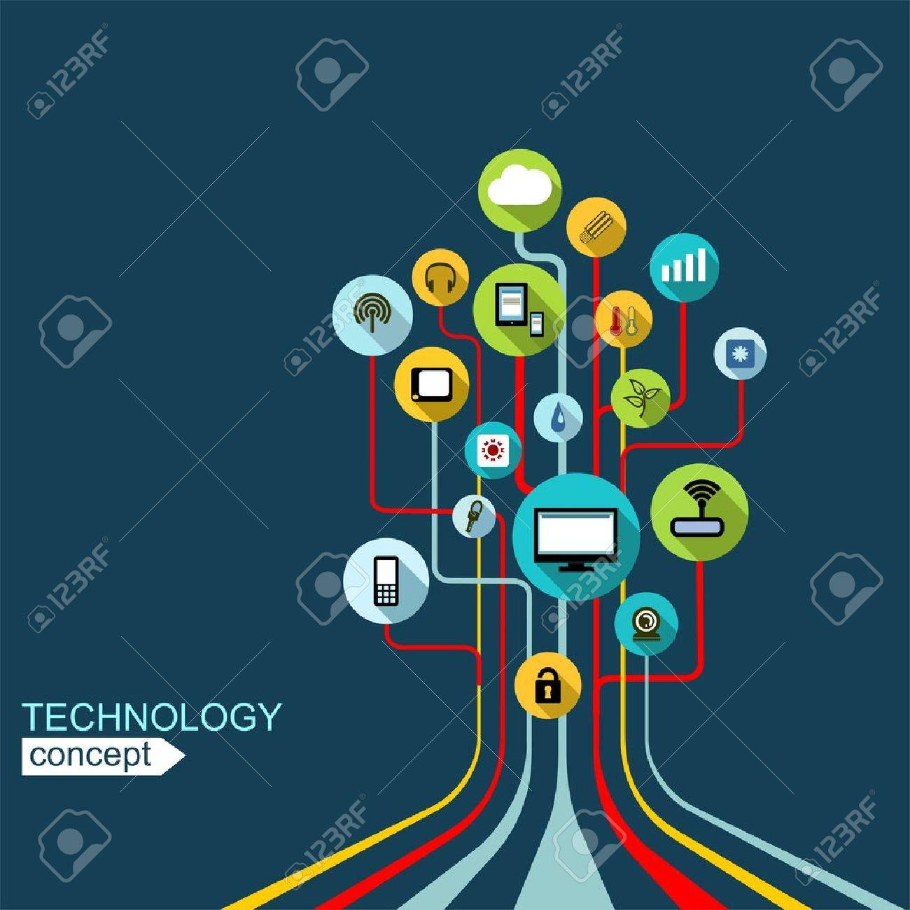 Concept technology background with lines, circles and icons. Growth tree (circuit) concept with mobile phone, technology, laptop, cloud computing, smart house - 41958017
