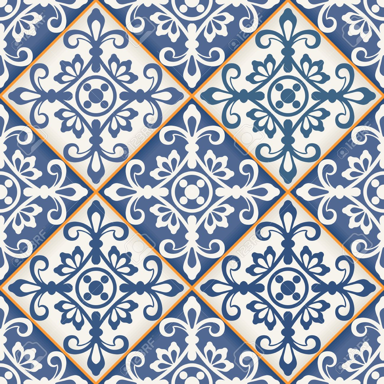 濃い青と白のモロッコ タイルから豪華なシームレスなパッチワーク パターンのオーナメントします Web ページの背景テクスチャ パターンの塗りつぶしの壁紙に使用できます のイラスト素材 ベクタ Image