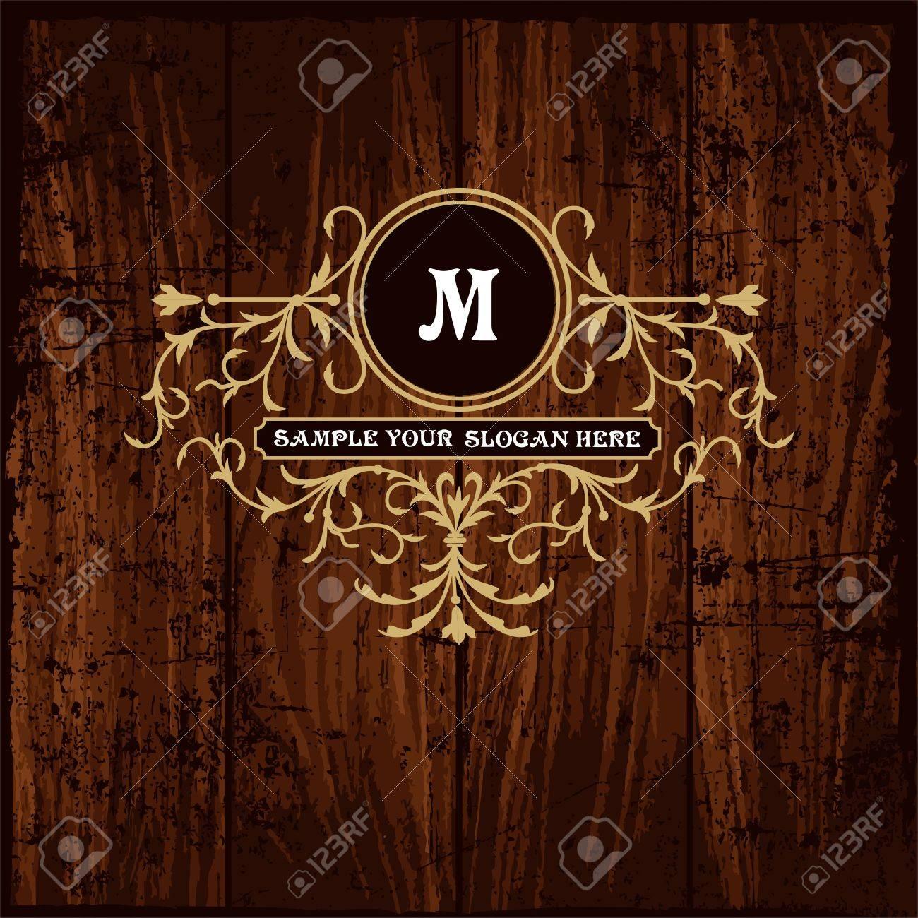 Lujo Plantilla Del Monograma Del Emblema. Ornamento Elegante Marco ...