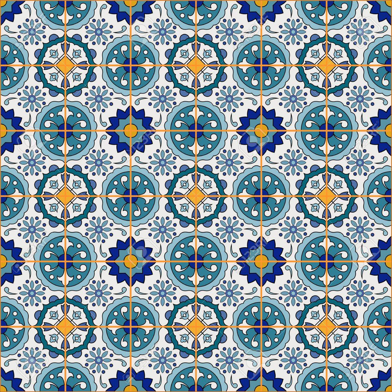 Gorgeous Seamless Patchwork Pattern From Colorful Moroccan Tiles ...