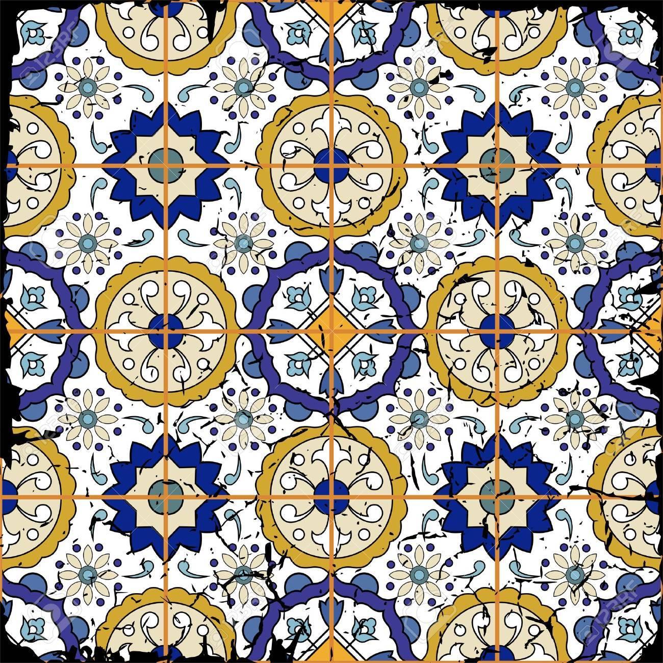 不潔なモロッコのタイル 装飾品から豪華なシームレスなパッチワークのパターン Web ページの背景テクスチャ パターンの塗りつぶしの壁紙に使用できます グランジ効果を削除することができます のイラスト素材 ベクタ Image