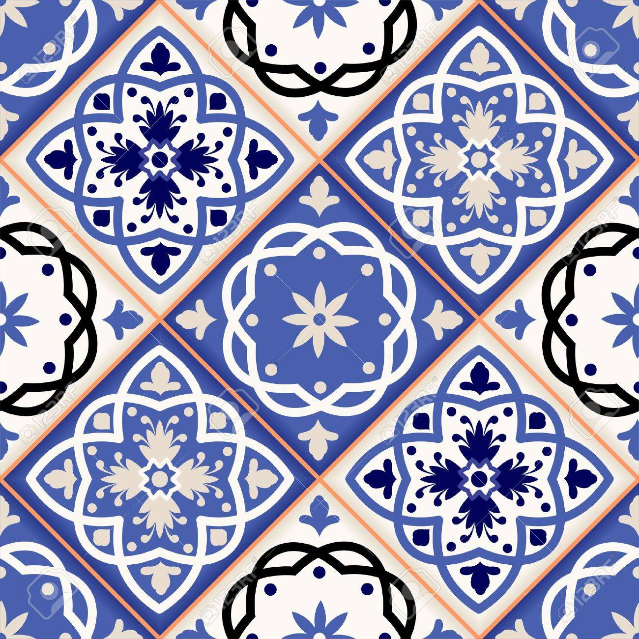 Gorgeous seamless patchwork pattern from colorful Moroccan tiles, ornaments. Can be used for wallpaper, pattern fills, web page background,surface textures. Stock Vector - 42963857