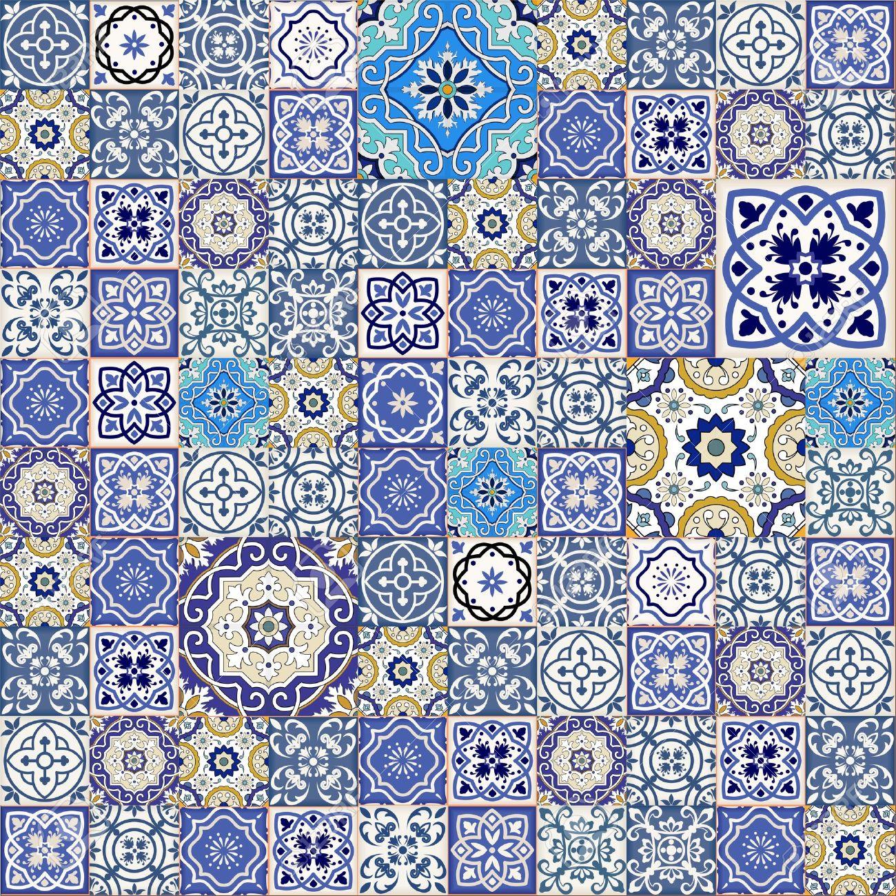 カラフルなモロッコのタイル 装飾品からメガ ゴージャスなシームレスなパッチワーク パターン Web ページの背景テクスチャ パターンの塗りつぶしの壁紙に使用できます のイラスト素材 ベクタ Image