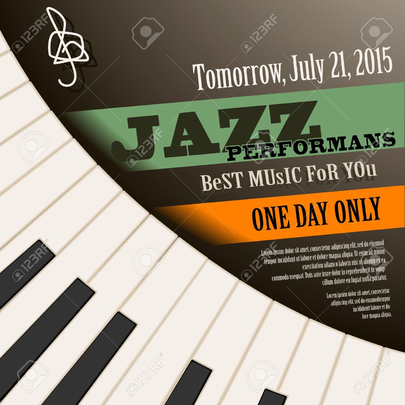 Jazz Musician Concert Show Poster With Piano Keys Vector Illustration Stock