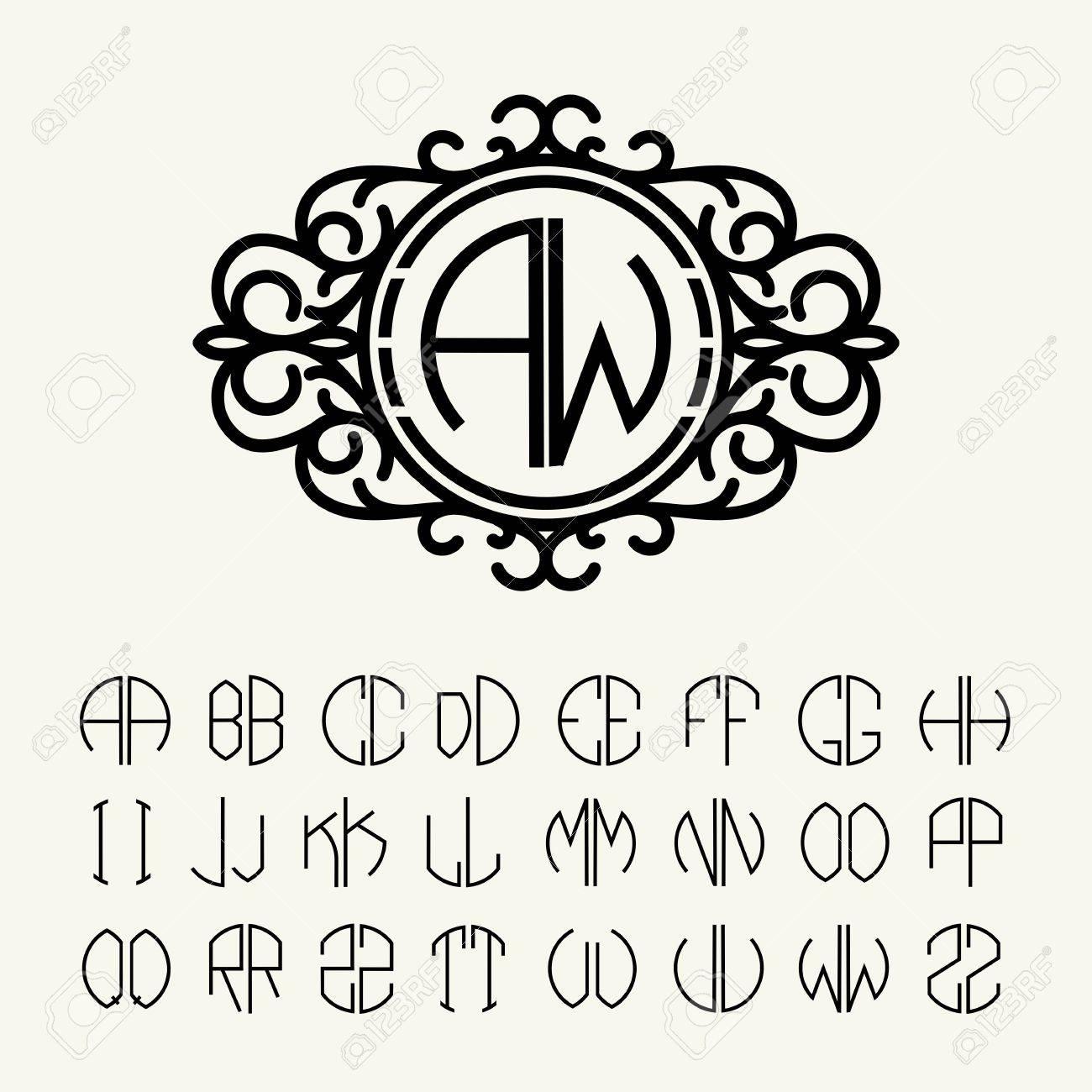 Establecer Cartas Plantilla Para Crear Monogramas De Dos Letras En