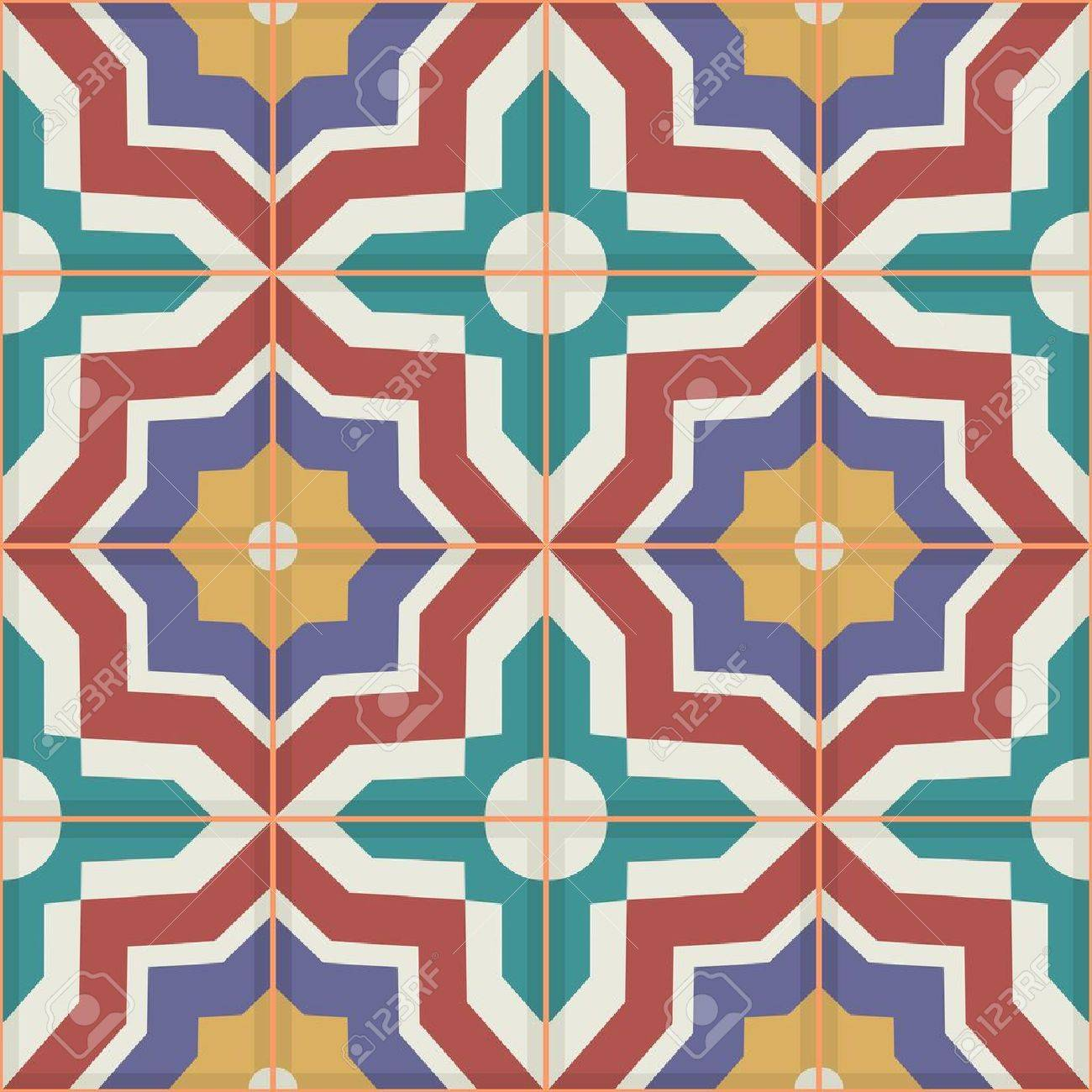 カラフルなモロッコのタイル 装飾品から豪華なシームレスなパッチワークのパターン Web ページの背景テクスチャ パターンの塗りつぶしの壁紙に使用できます のイラスト素材 ベクタ Image