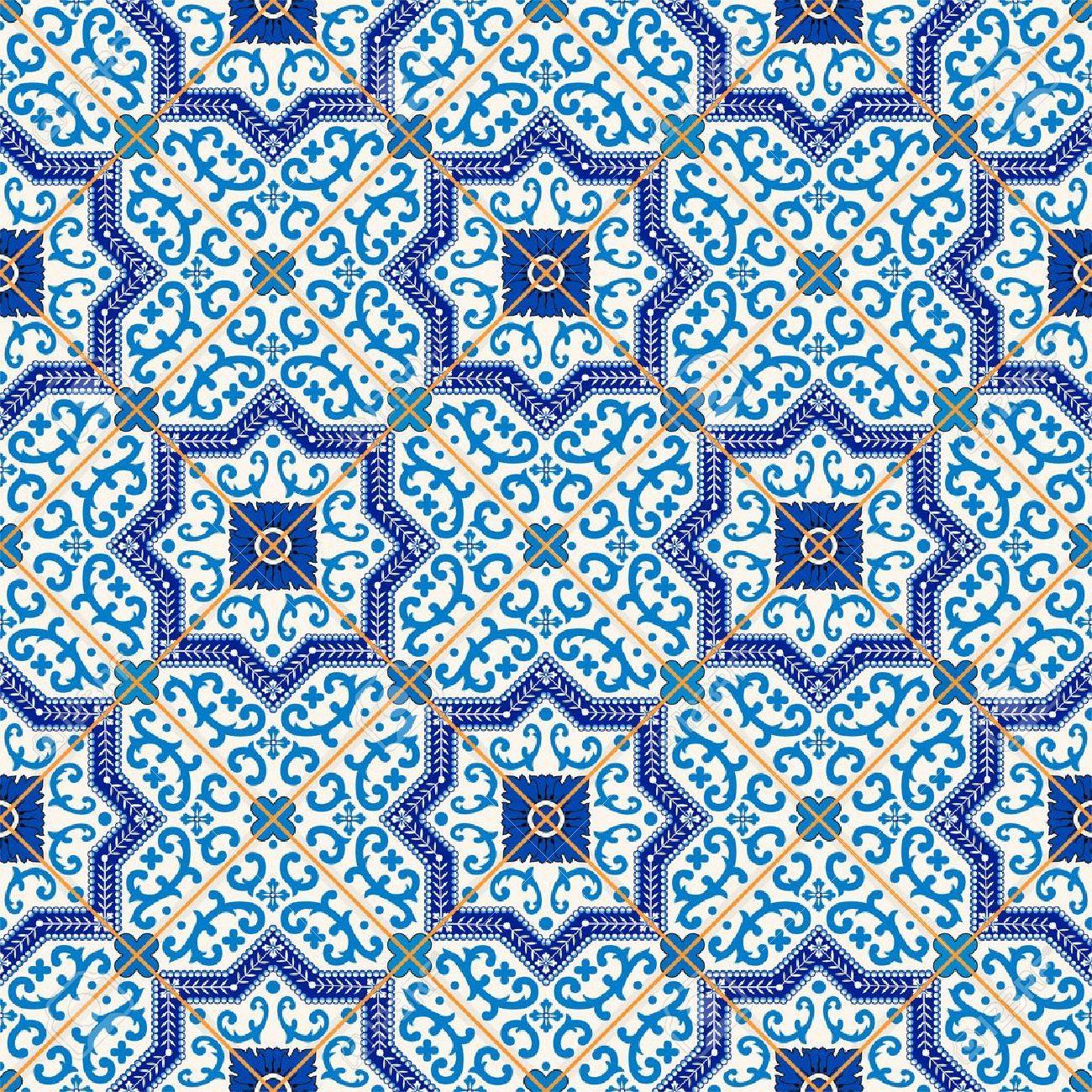 濃い青と白モロッコ ポルトガルのタイル Azulejo 飾りから豪華なシームレス パターン Web ページの背景テクスチャ パターンの塗りつぶしの壁紙に使用できます のイラスト素材 ベクタ Image