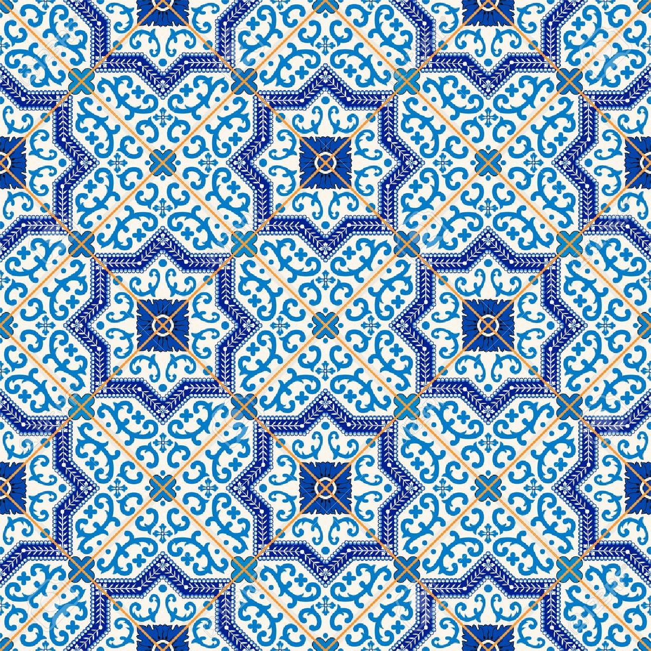 Gorgeous seamless  pattern from dark blue and white Moroccan, Portuguese  tiles, Azulejo, ornaments. Can be used for wallpaper, pattern fills, web page background,surface textures. Stock Vector - 46036002