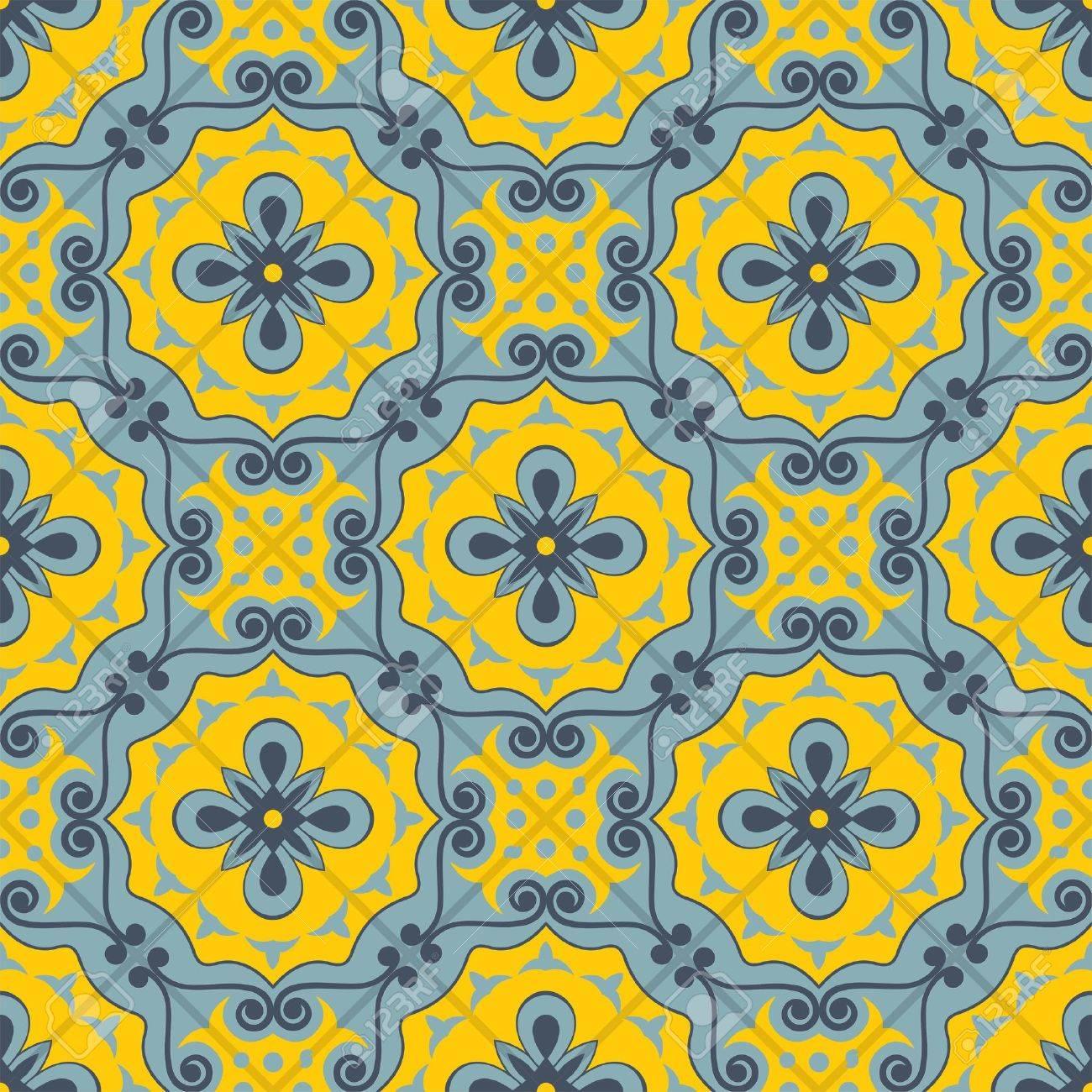 青と黄色のモロッコのタイルから豪華なシームレスなパッチワーク パターンのオーナメントします Web ページの背景テクスチャ パターンの塗りつぶしの壁紙に使用できます のイラスト素材 ベクタ Image