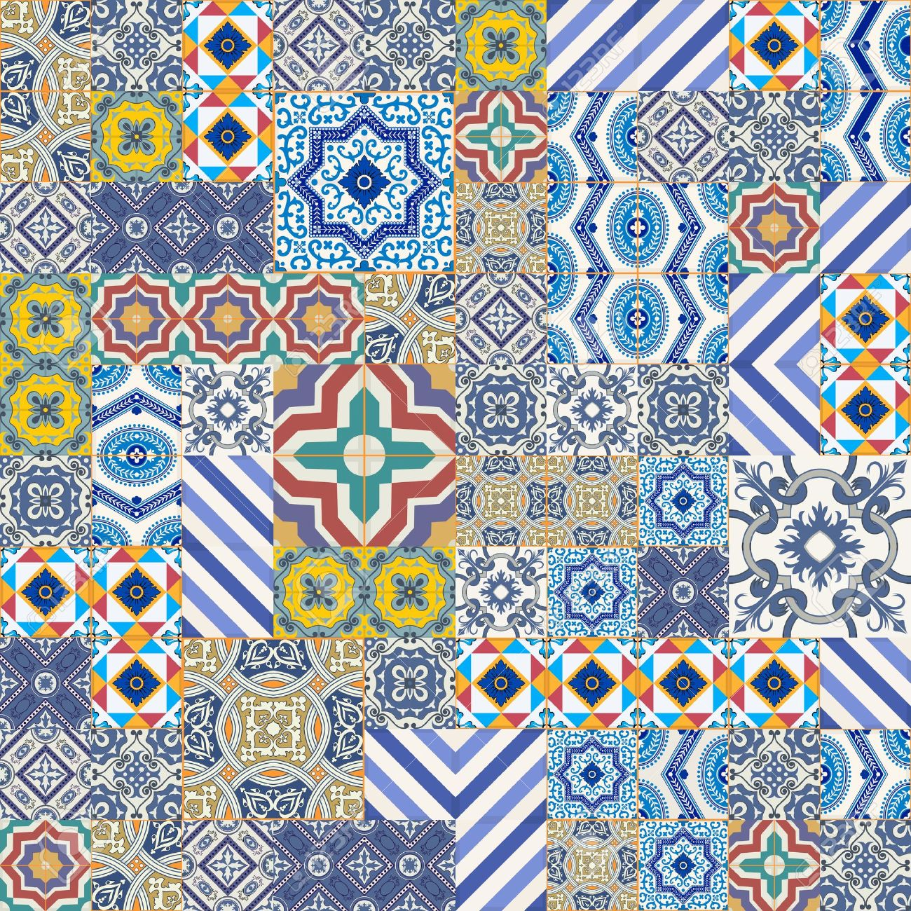 Mega Gorgeous seamless patchwork pattern from colorful Moroccan, Portuguese  tiles, Azulejo, ornaments.. Can be used for wallpaper, pattern fills, web page background,surface textures. Stock Vector - 46036875