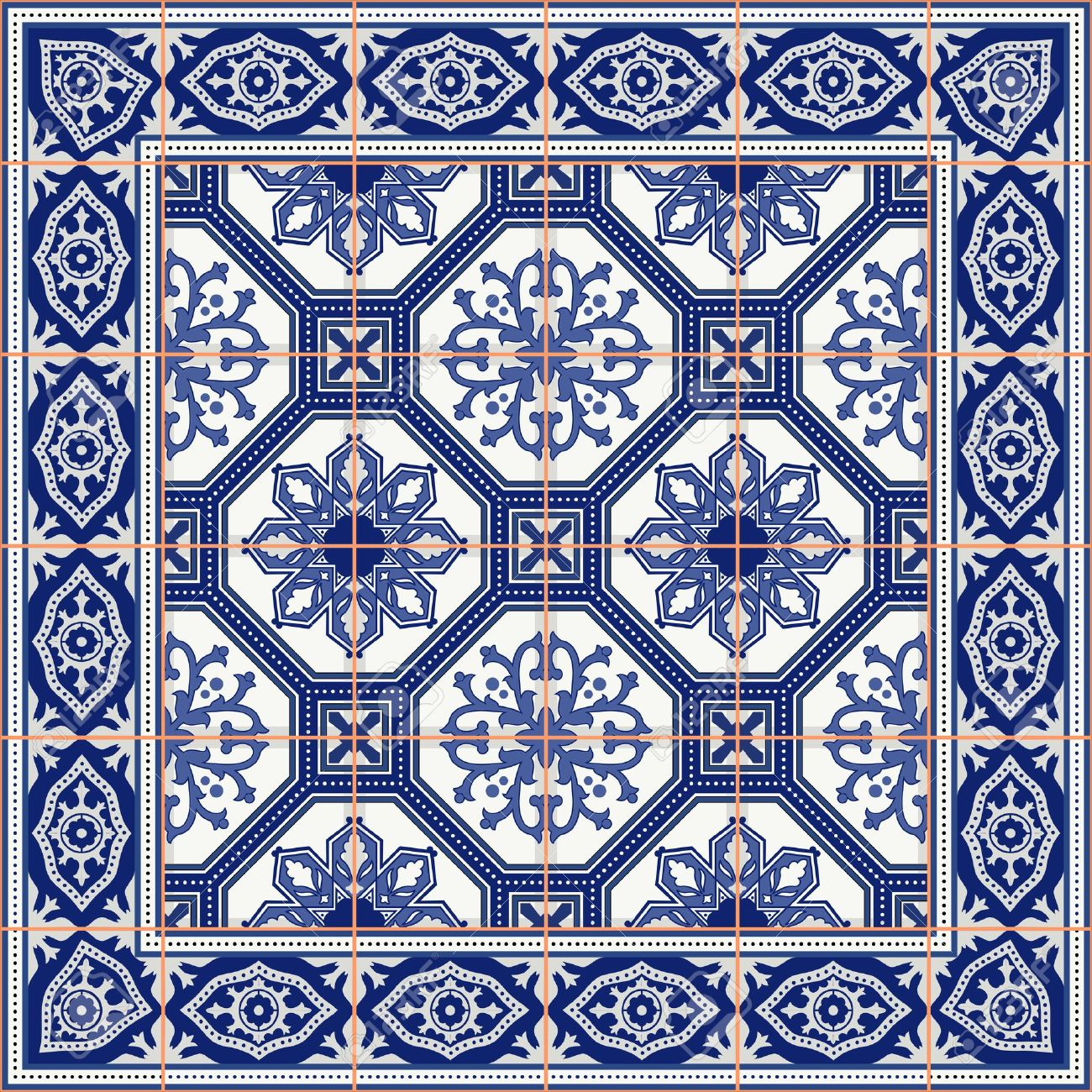 Gorgeous seamless pattern from tiles and border. Moroccan, Portuguese, Azulejo ornaments. Can be used for wallpaper, pattern fills, web page background,surface textures. - 47687161