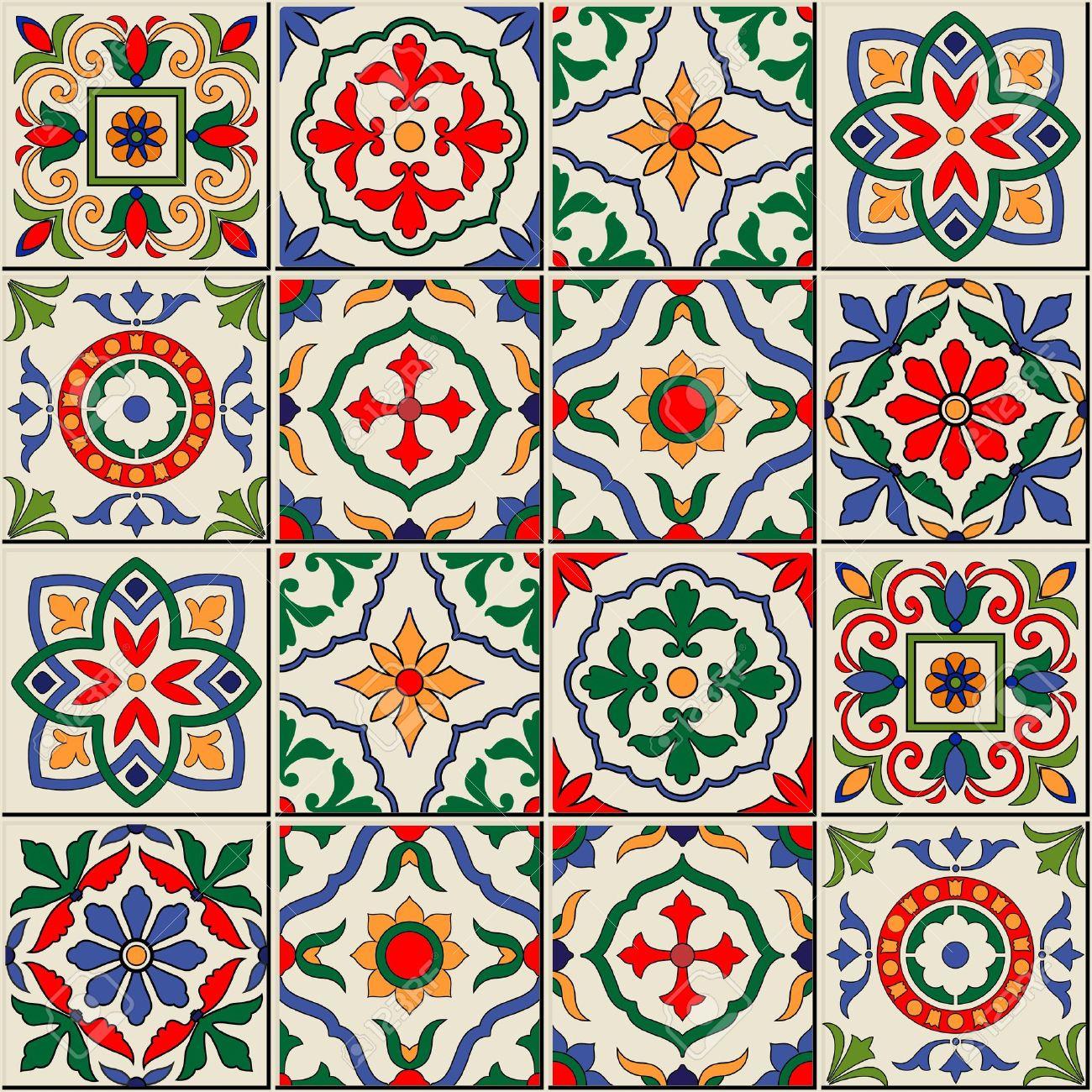 Herrliche Nahtlose Muster Weiß Bunte Marokkanische Portugiesischen - Portugiesische fliesen azulejos