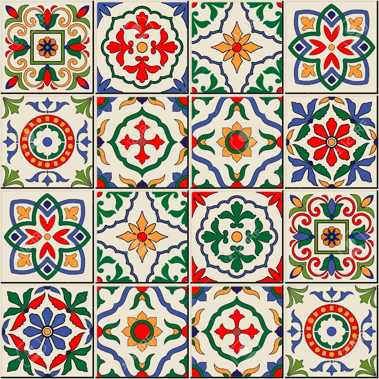 Gorgeous seamless pattern white colorful Moroccan, Portuguese tiles, Azulejo, ornaments. Can be used for wallpaper, pattern fills, web page background,surface textures. - 49119962