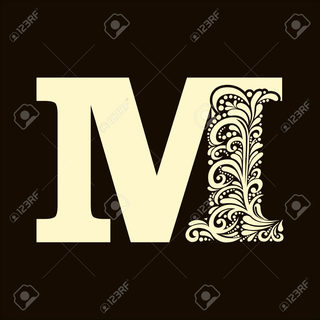 Elegant Capital Letter M In The Style Of Baroque To Use Monograms Logos