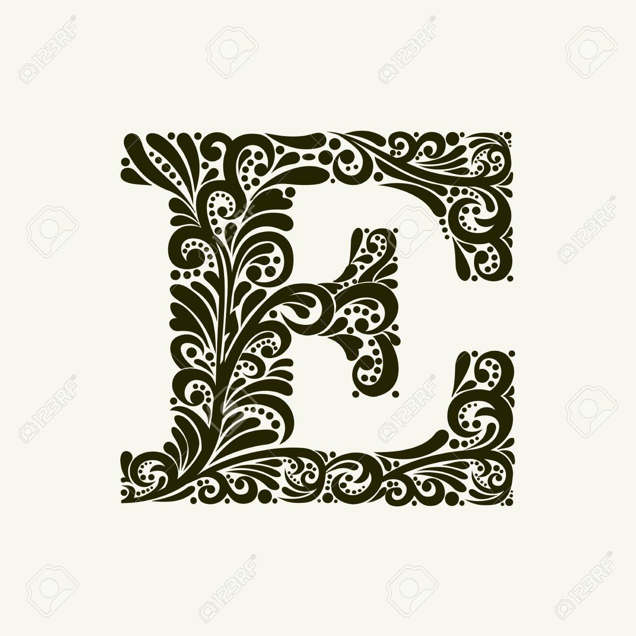 Elegant Capital Letter E In The Style Of The Baroque. To Use