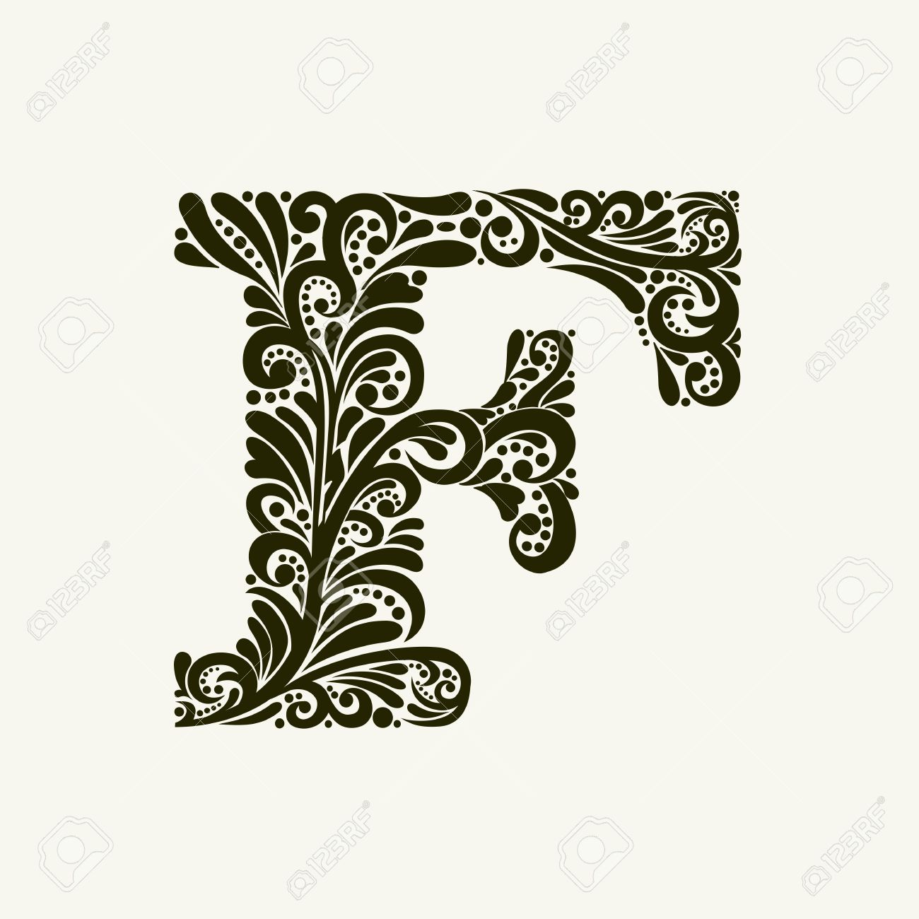 Elegant Capital Letter F In The Style Of Baroque To Use Monograms Logos