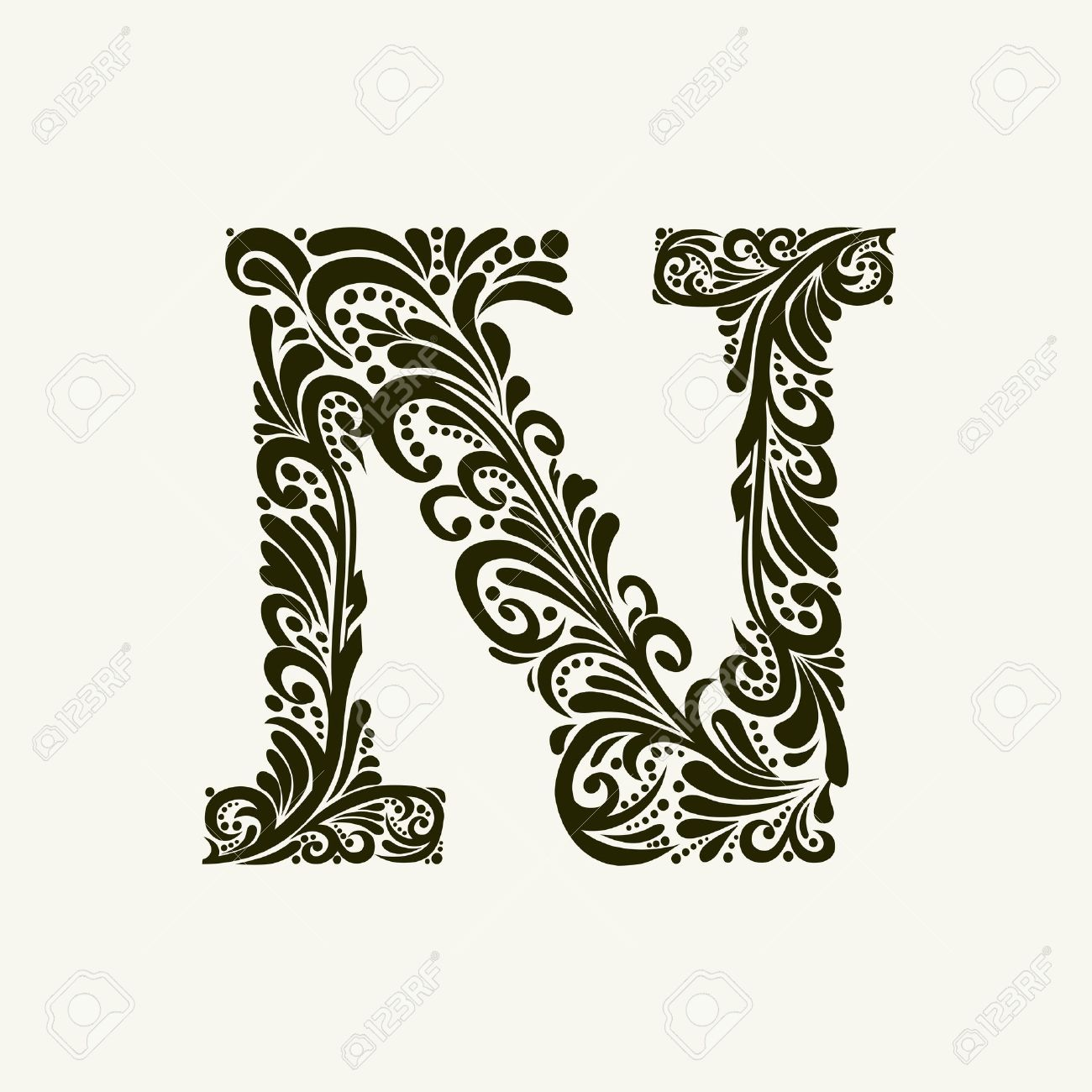 Elegant Capital Letter N In The Style Of Baroque To Use Monograms Logos