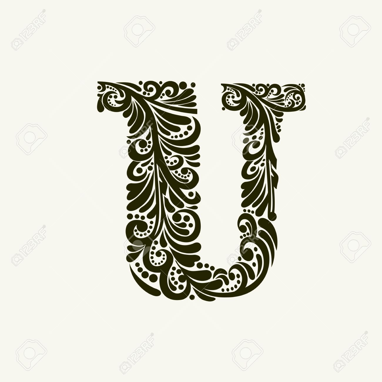 Elegant Capital Letter U In The Style Of Baroque To Use Monograms Logos