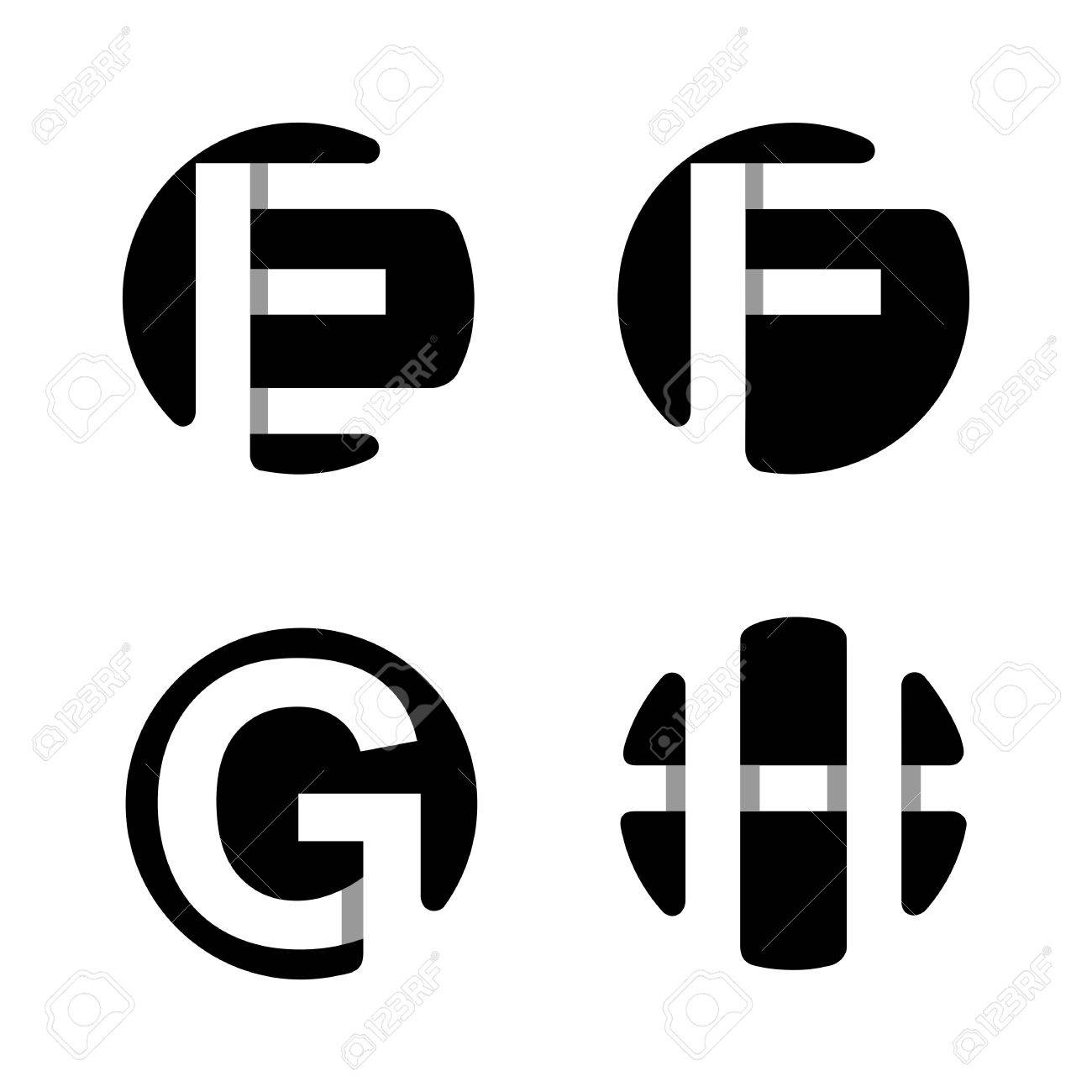 capital letters e f g h from white stripe in a black