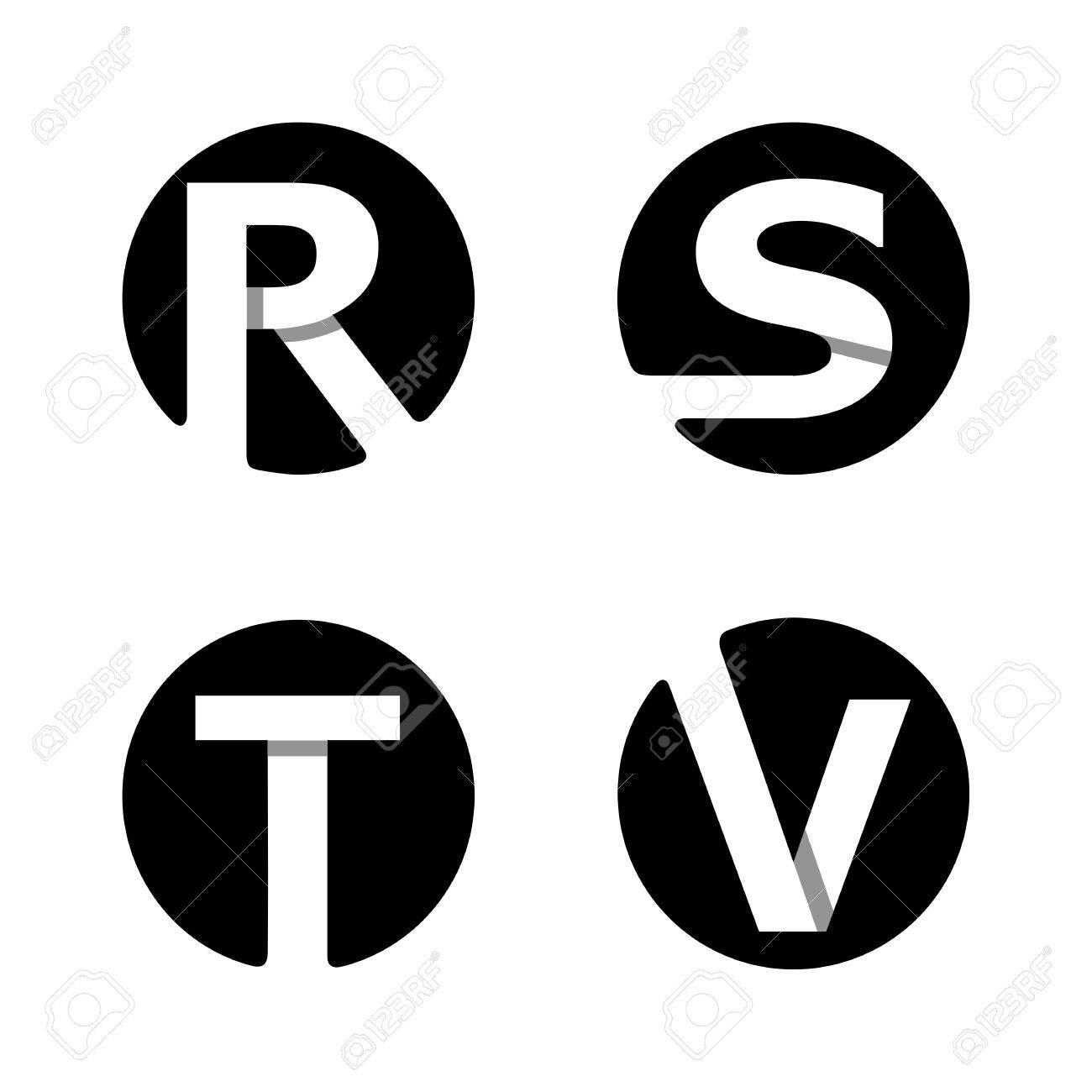 英大文字 R、S、T、V。黒い円に...