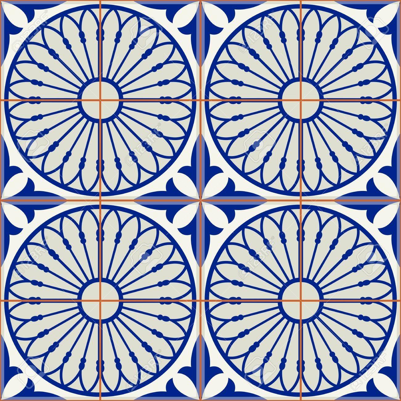 Herrliches Nahtloses Muster Weiße Türkische Marokkanische - Portugiesische fliesen azulejos