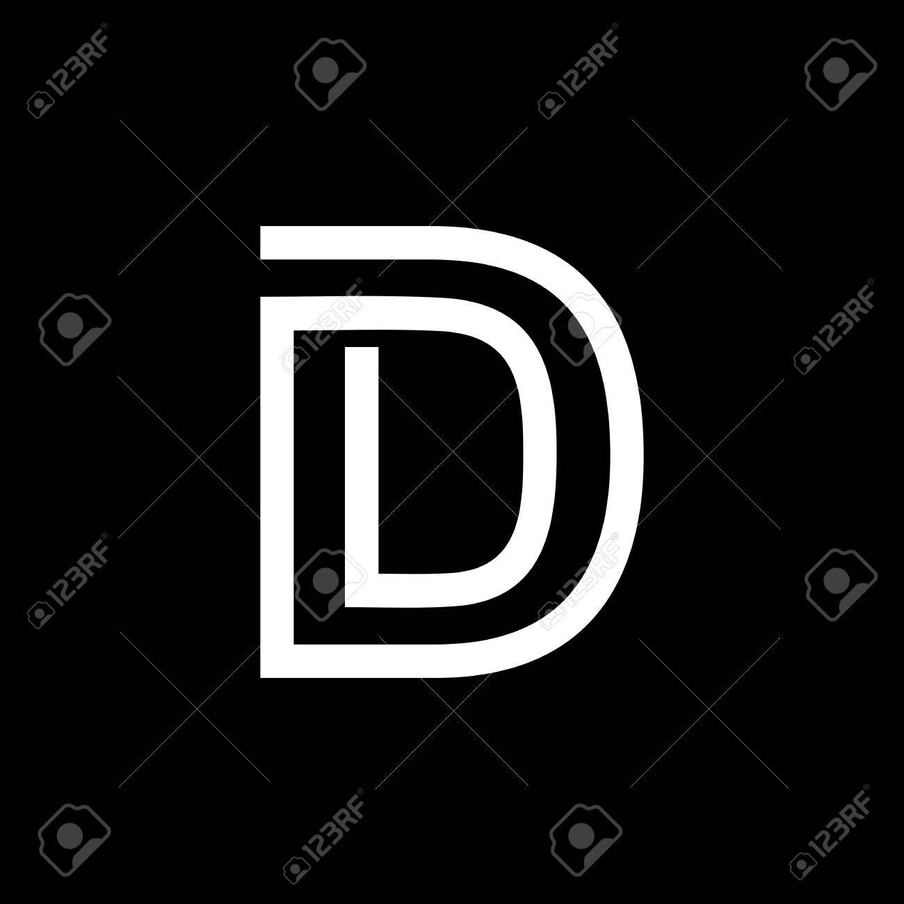 Capital Letter D From The White Interwoven Strips On A Black