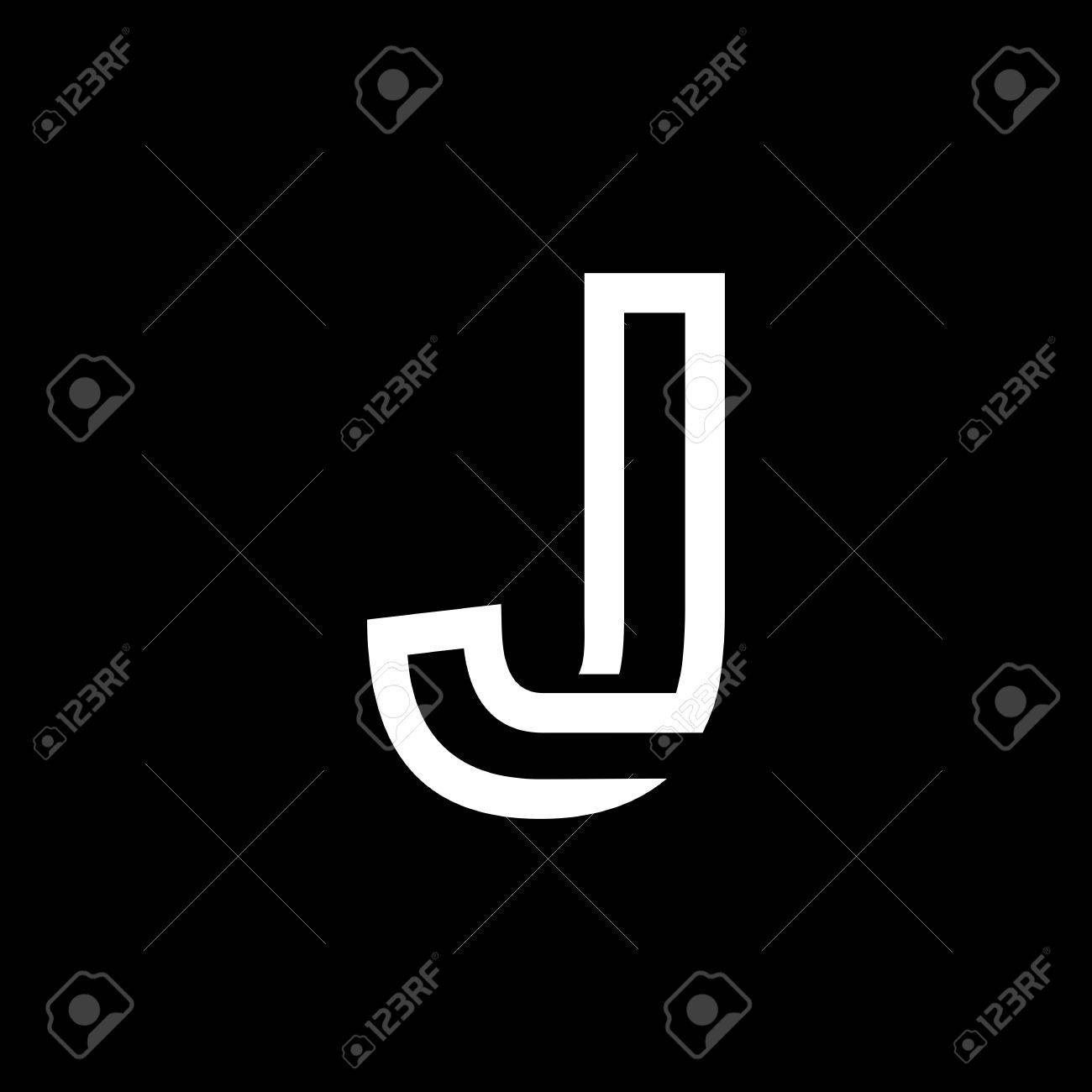 Capital Letter J From The White Interwoven Strips On A Black