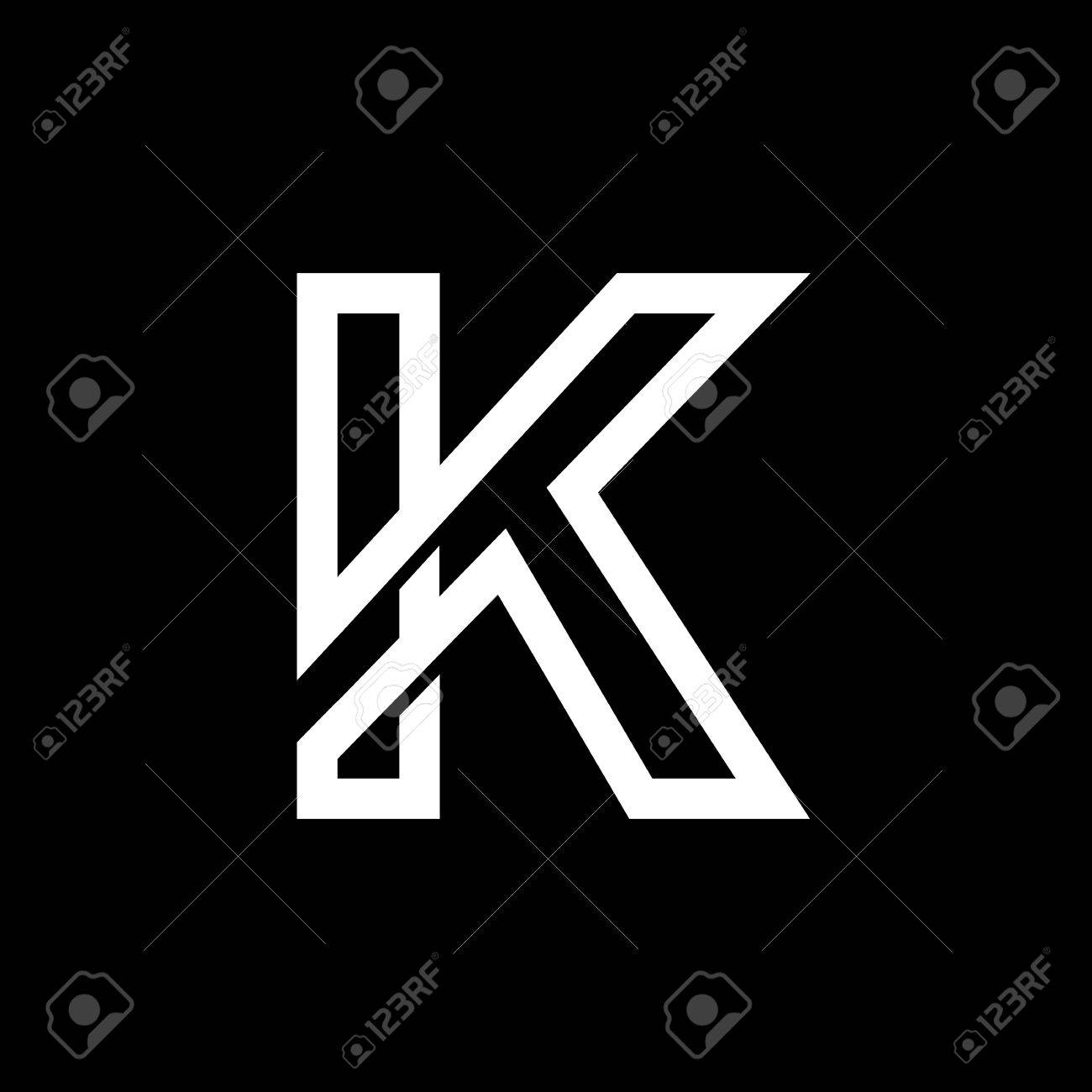 Capital Letter K From The White Interwoven Strips On A Black