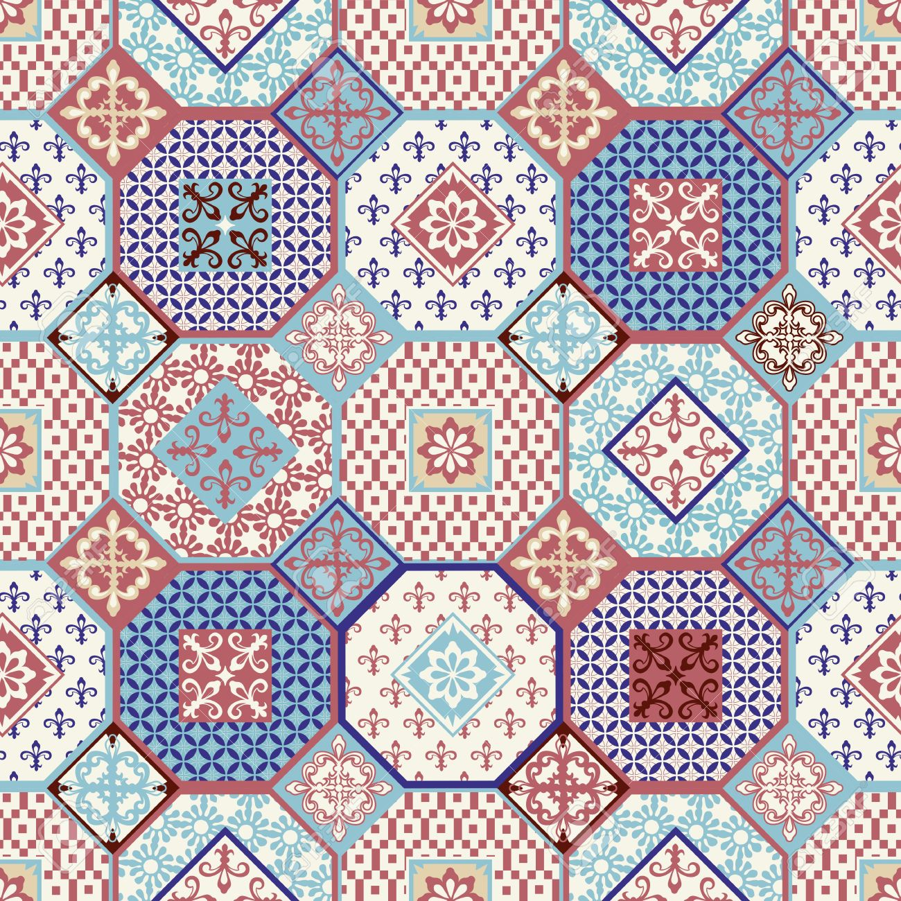 Vector of moroccan tile seamless pattern tile for design tile - Stylish Seamless Pattern Patchwork Mix Of Vintage From Moroccan Portuguese Azulejo Tiles Retro