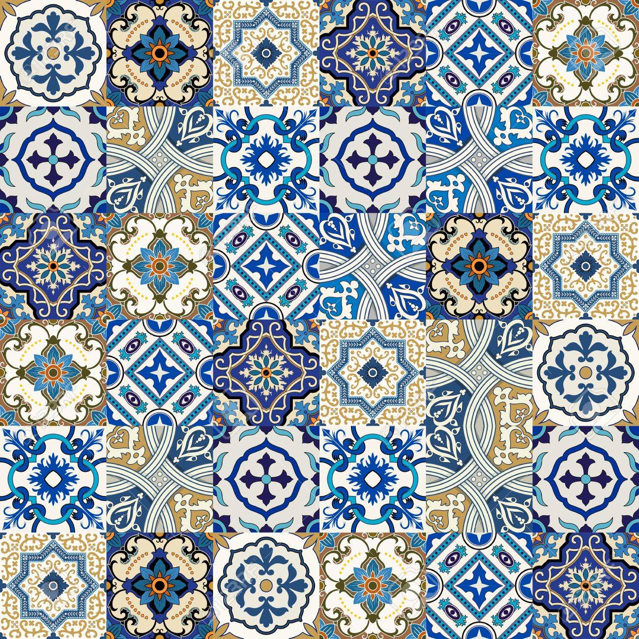 Mega Gorgeous Seamless Patchwork Pattern From Colorful Moroccan ...