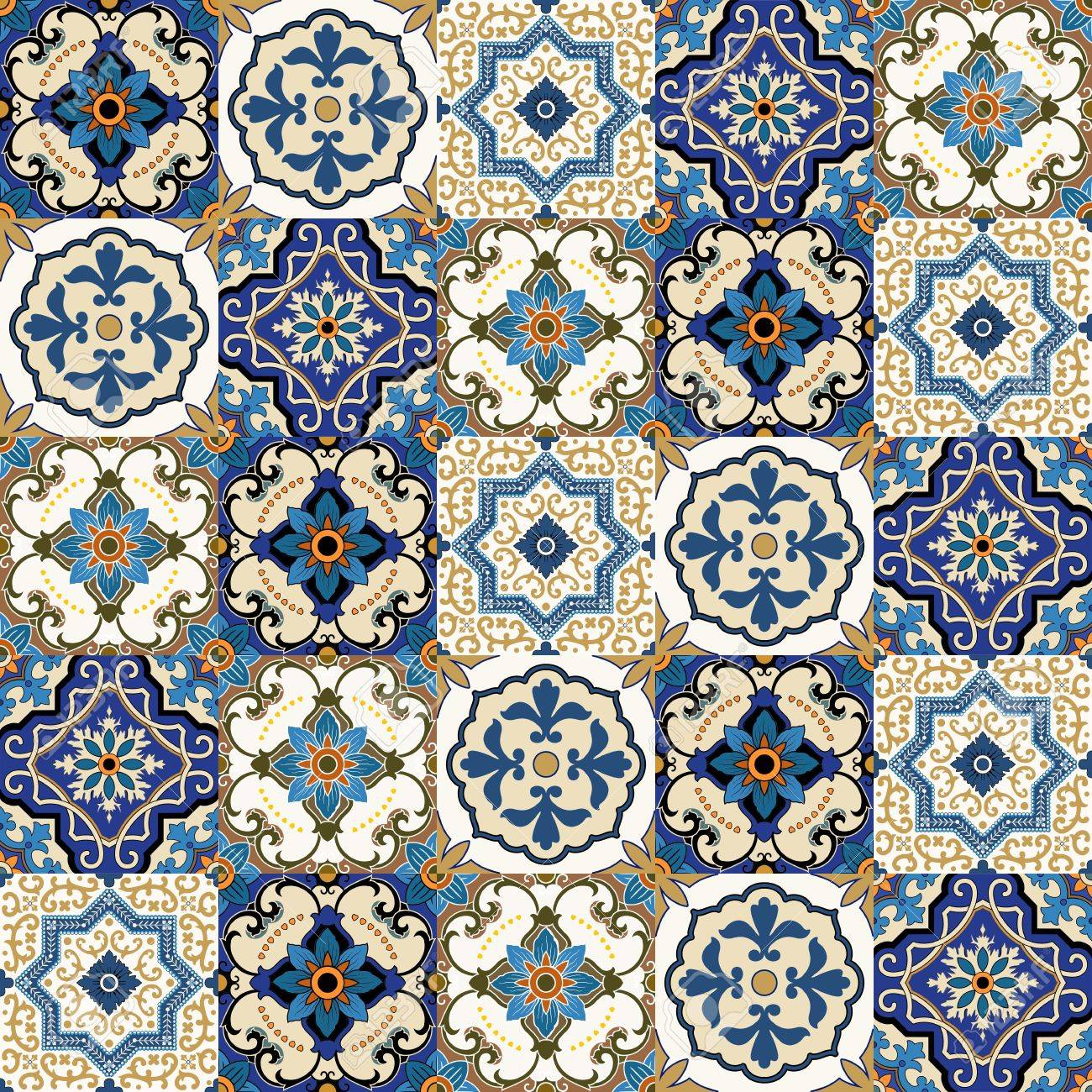 Mega Gorgeous seamless patchwork pattern from colorful Moroccan, Portuguese tiles, Azulejo, ornaments.. Can be used for wallpaper, pattern fills, web page background,surface textures. - 61753124