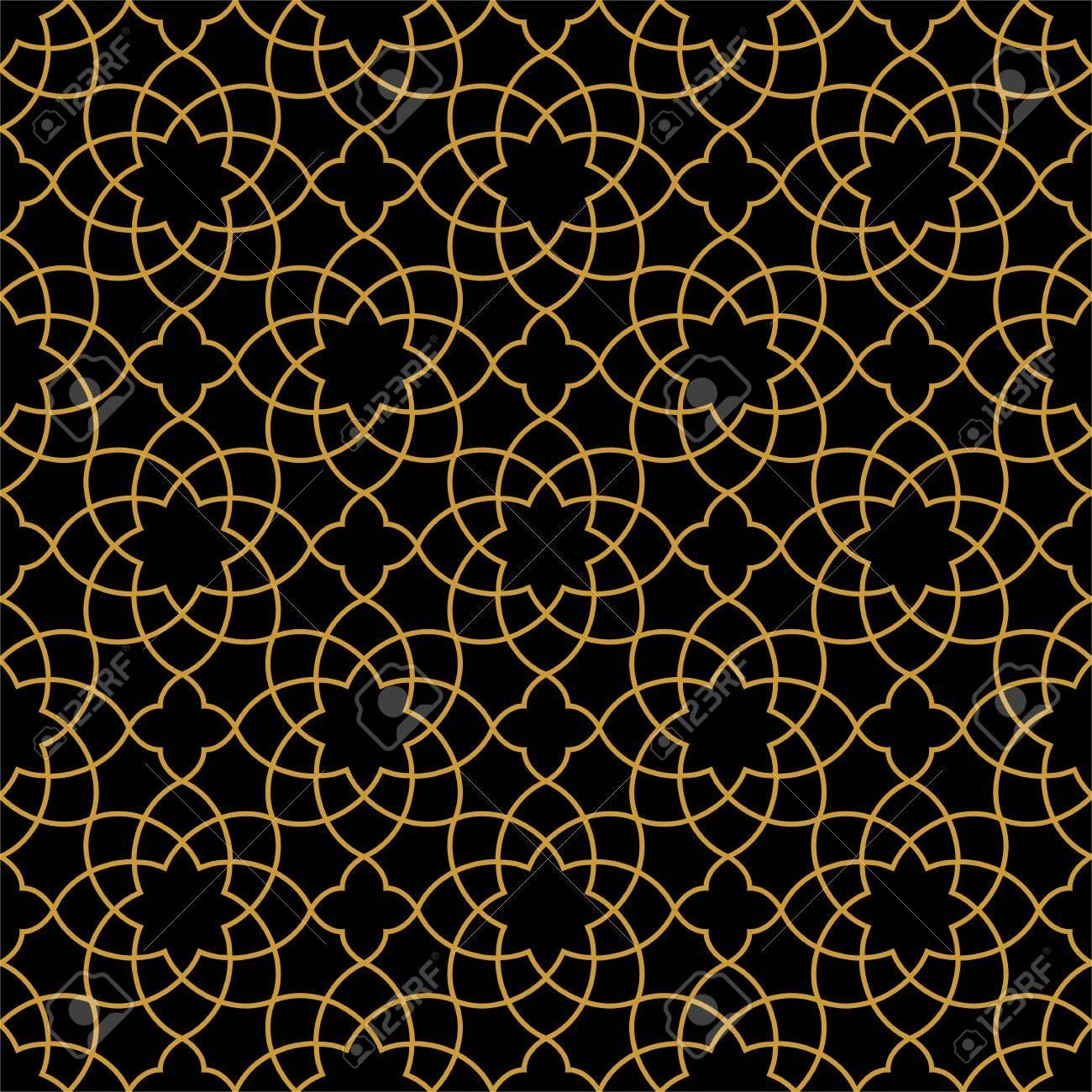 Gorgeous Seamless Arabic Pattern Design. Monochrome Gold Wallpaper or Background. - 63423642
