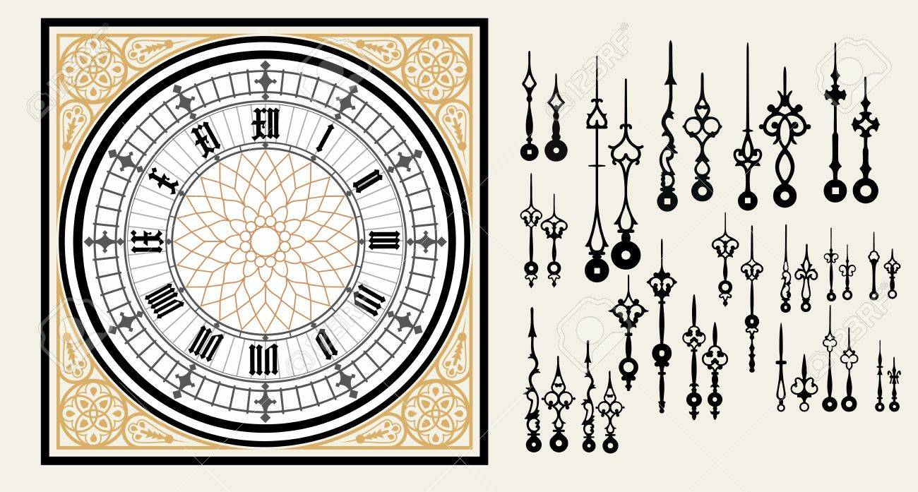 Vintage Clock Dial With Set Hands In The Victorian Style. Vector ...