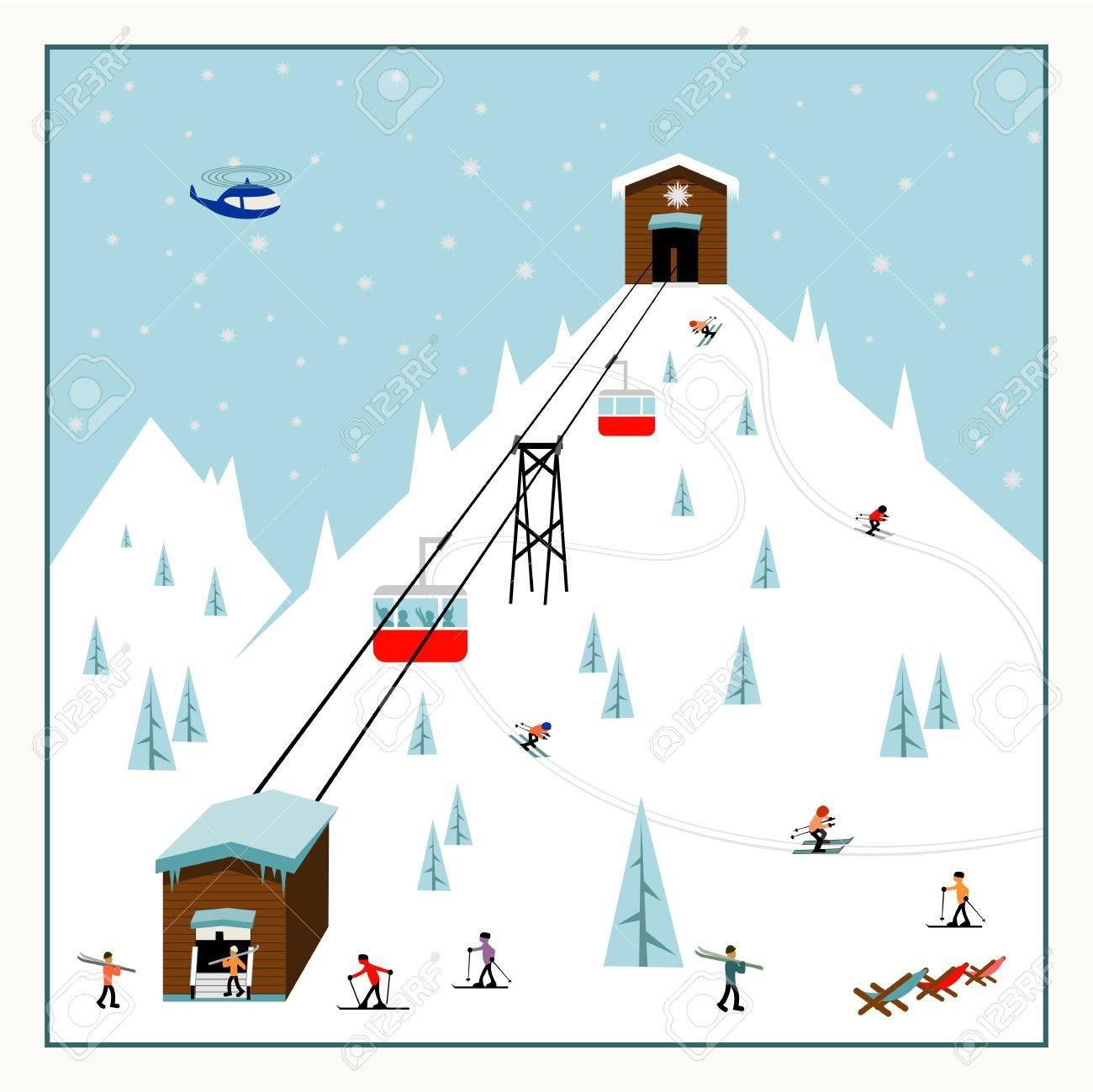 クールなパステル カラー漫画スキー ポスタースキー場のリフト