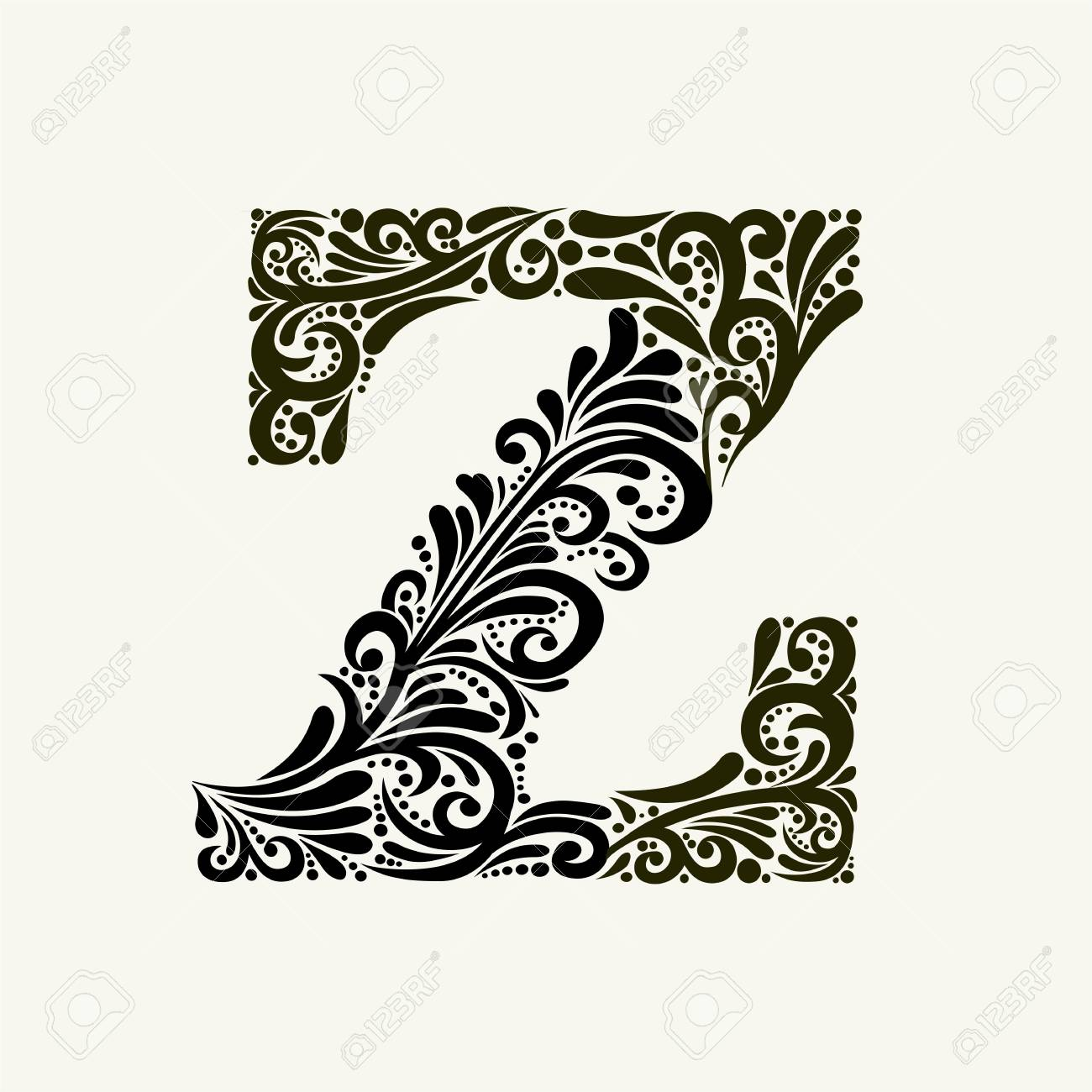 Elegant capital letter Z in the style of the Baroque. - 122200234