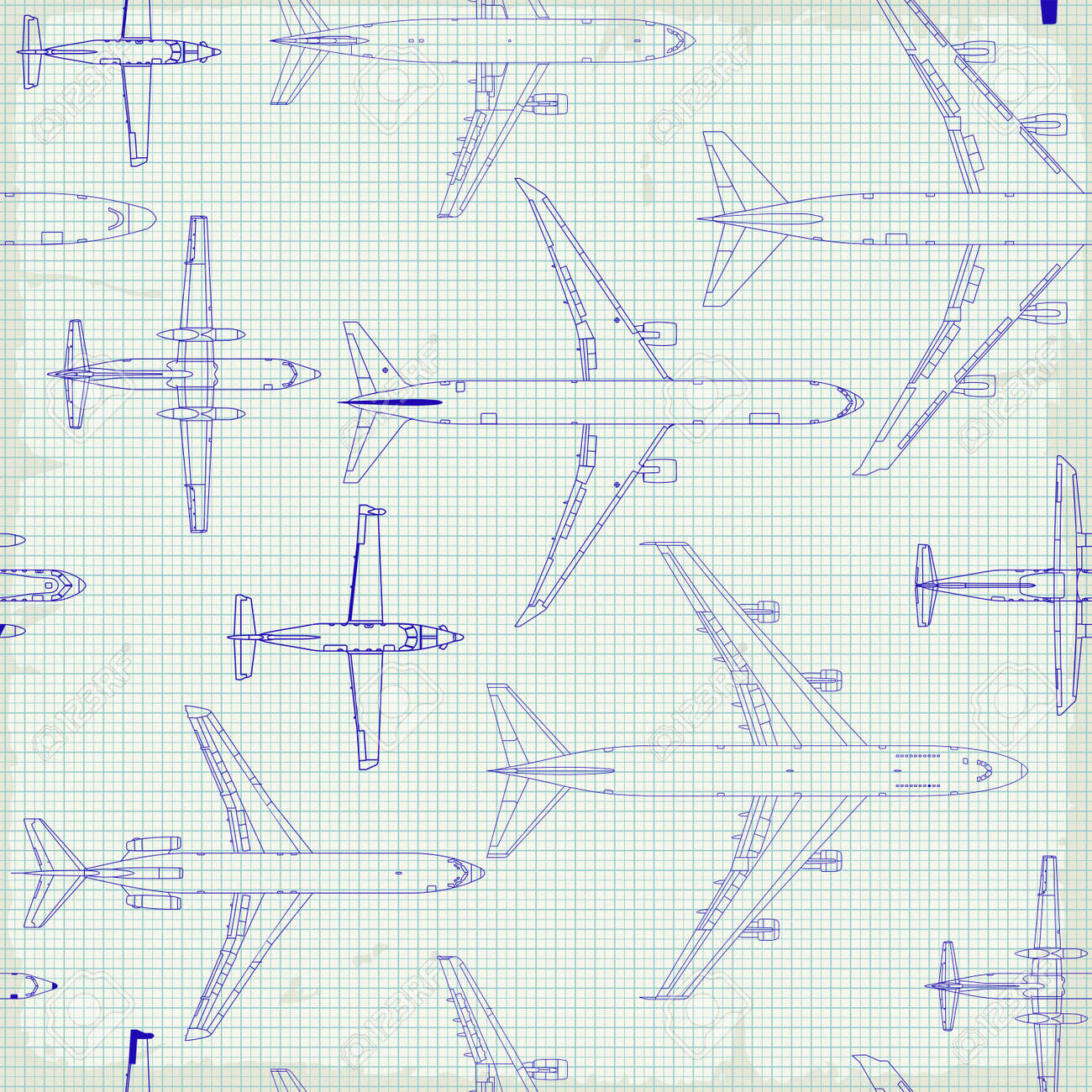 Seamless pattern flying passenger airplanes from different times. airplane drawings on graph vintage paper - 158939884