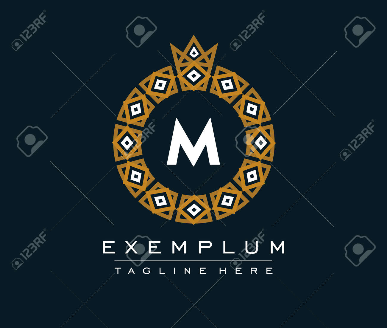 Ornamental round monogram, template for creating logos, labels. - 166195435