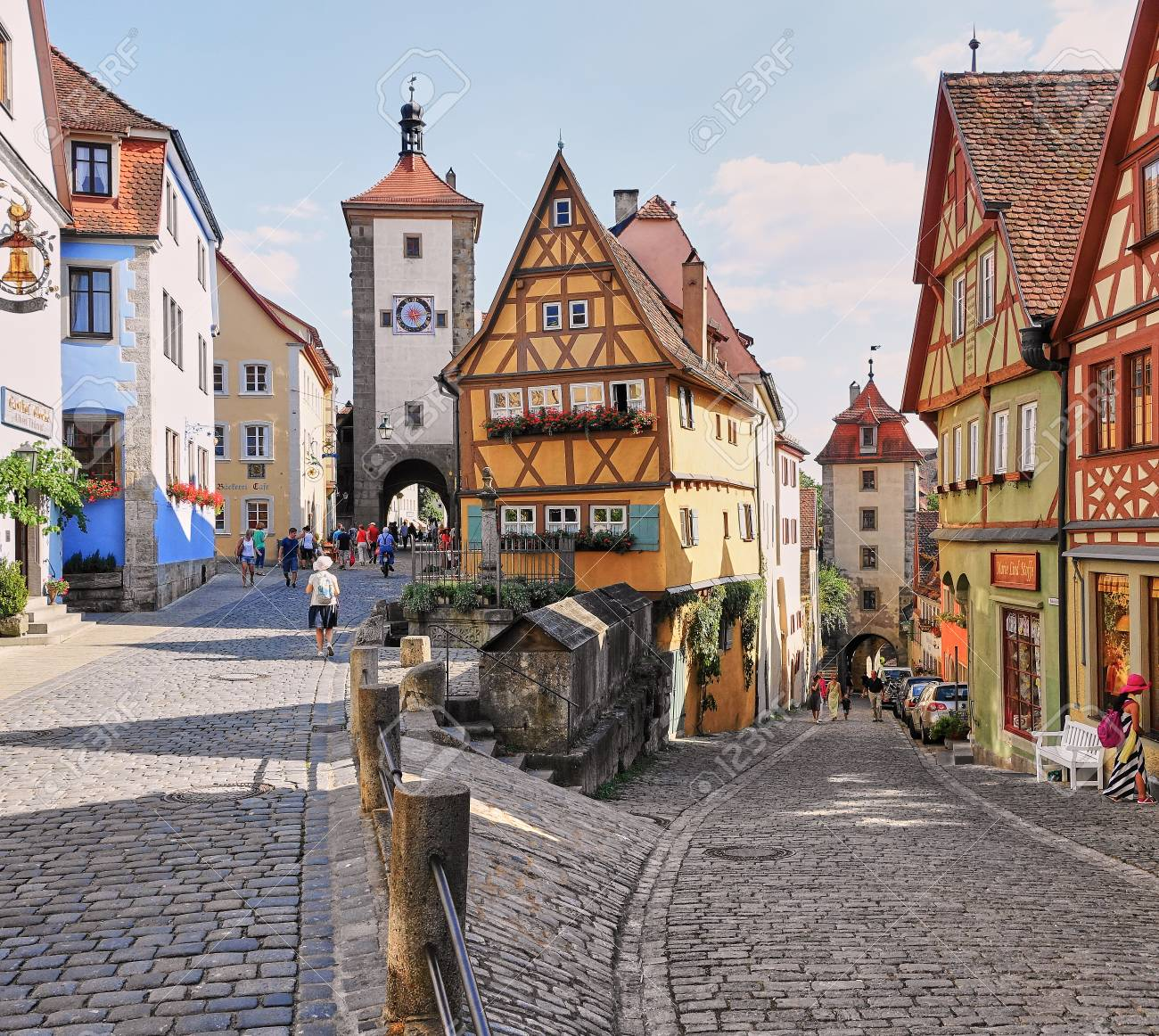 """Rothenburg, Germany - Aug 2015: Most photographed house in Germany the """"Plonlein"""" half timbered Ginger Bread Home. - 125989071"""