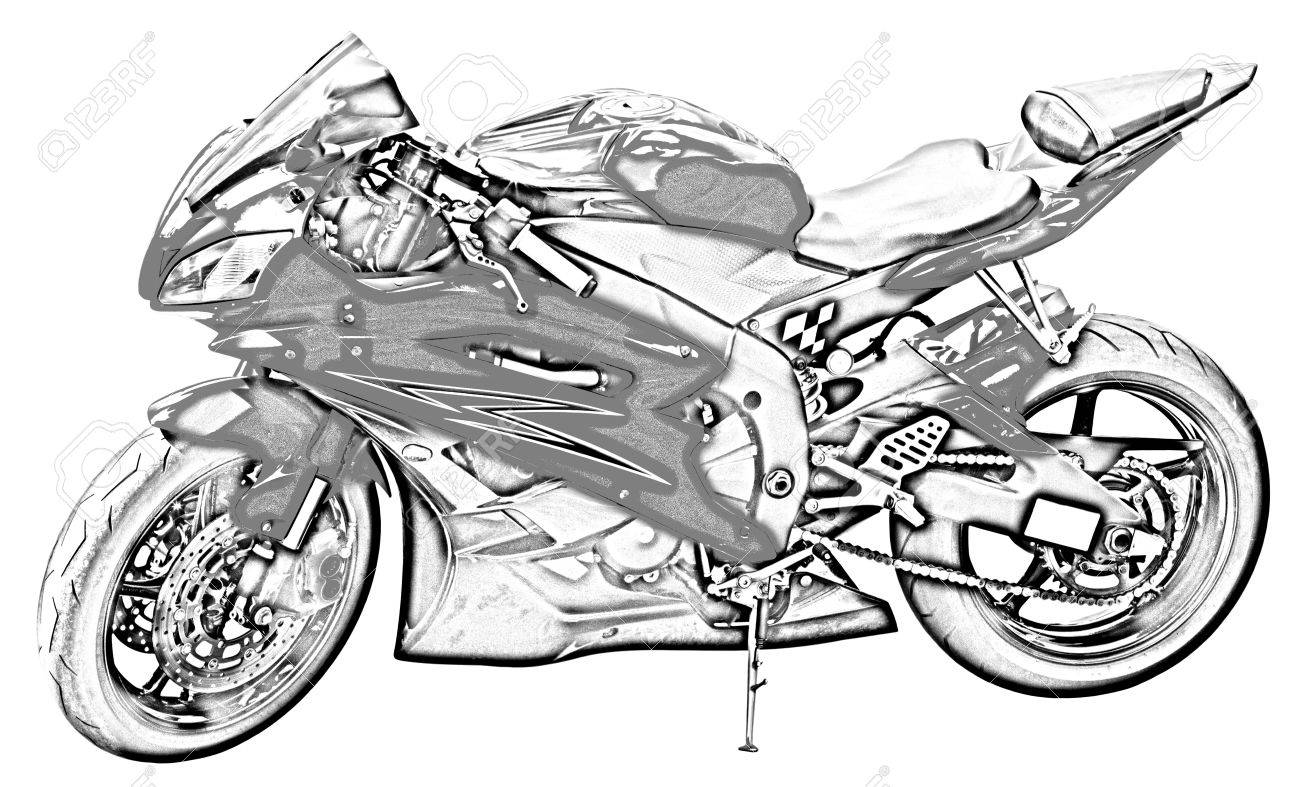 Motorcycle Drawing Stock Photo Picture And Royalty Free Image