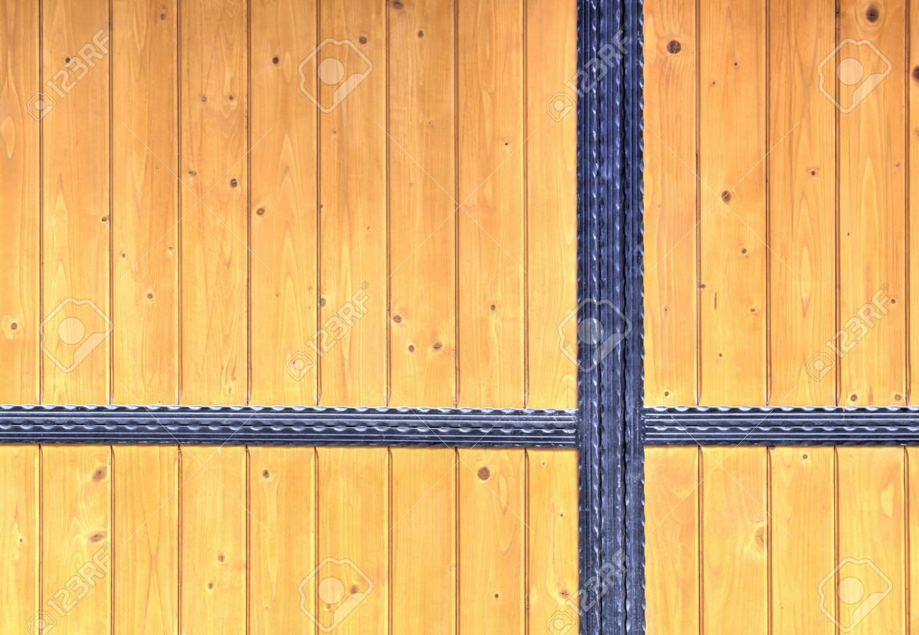 Stock Photo - Wooden door with metal ornaments & Wooden Door With Metal Ornaments Stock Photo Picture And Royalty ...