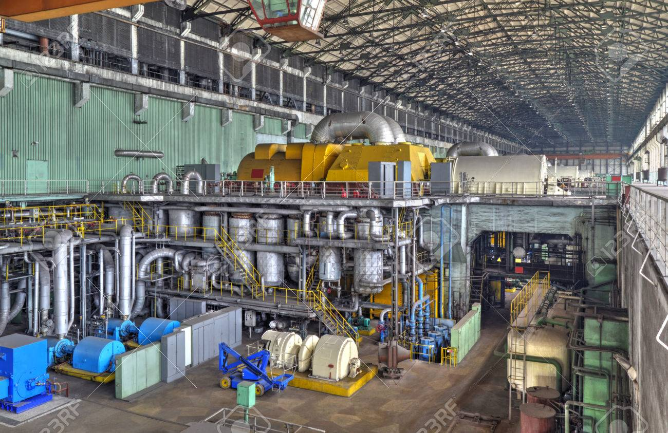 power plant generators. Machine Room In Thermal Power Plant With Electric Generators And Turbines Stock Photo - 48447223