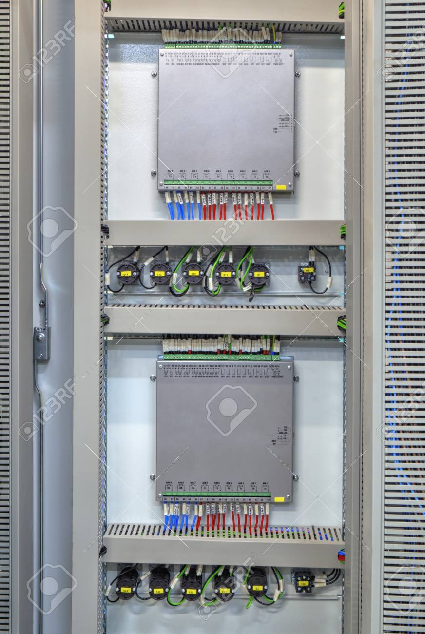 Industrial Electrical Panel With Electronic Devices For Relay ...