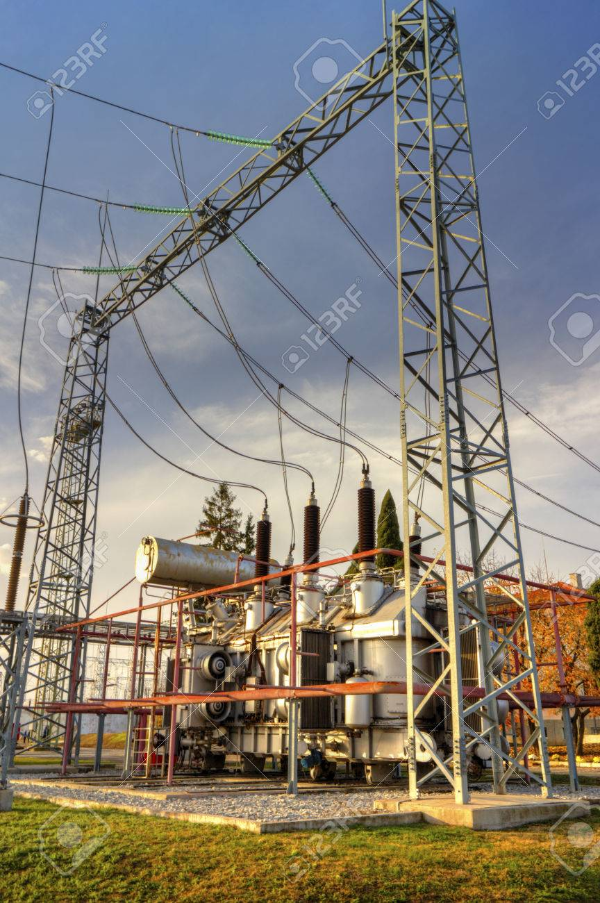 Power transformer in high voltage switchyard in modern electrical