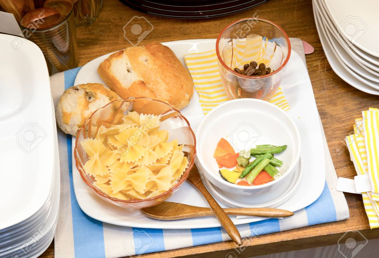 Macaroni and bread set  in white plate Stock Photo - 19406025